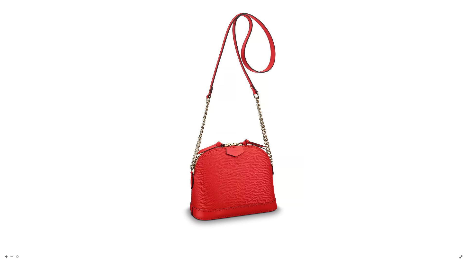 """""""Mini Alma"""" en """"Piel Epi Veteada"""" es un diseño atemporal con larga correa para ser una cartera, ideal para el uso cotidiano. Este modelo lleva el logotipo LV con relieve y el tradicional patch de """"Louis Vuitton Paris"""" en la parte delantera de la minibag."""