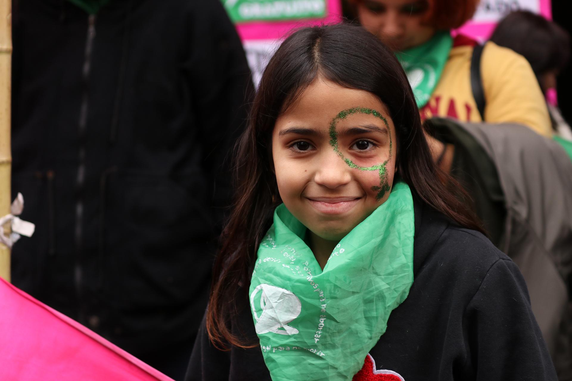 Las niñas acompañaron a su madres a marchar por la legalización del aborto (Lihue Althabe)