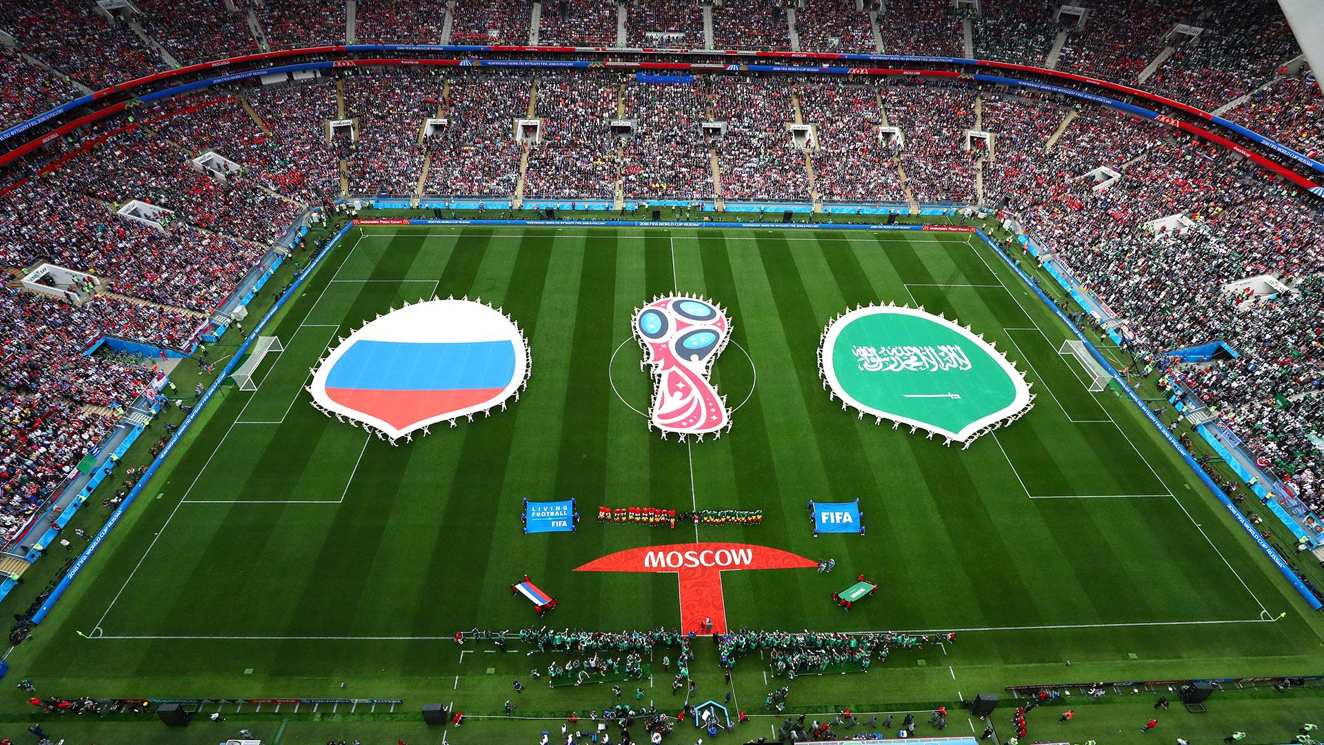 El Estadio Olímpico Kluzhniki y la ceremonia del primer partido del Mundial: Rusia, el local, contra Arabia Saudita, la selección dirigida por el técnico argentino Juan Antonio Pizzi (REUTERS/Carl Recine)