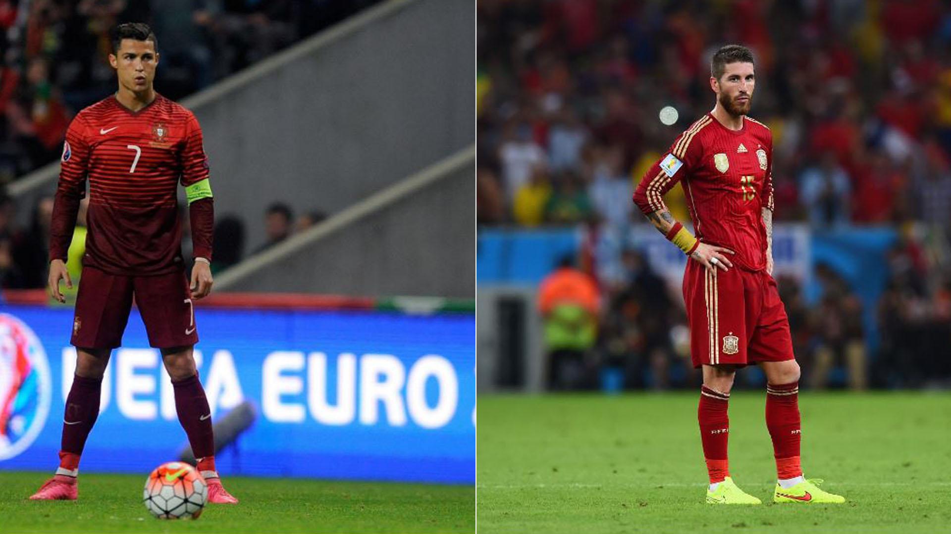 Cristiano Ronaldo (i) y Sergio Ramos (d), compañeros en el Real Madrid, rivales en el debut en el Mundial Rusia 2018 entre Portugal y España