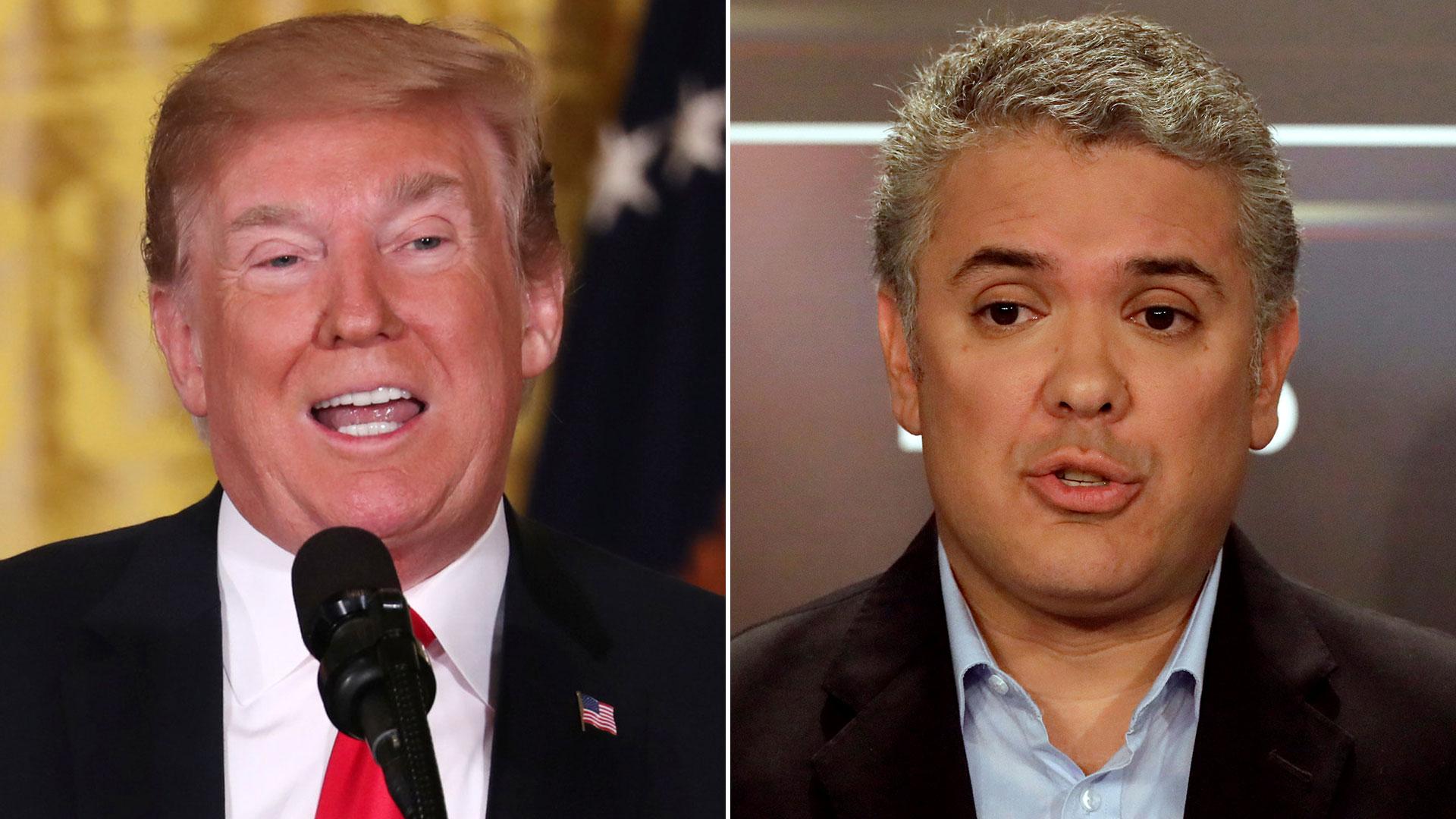 Los presidentes de Estados Unidos y Colombia, Donald Trump e Iván Duque, respectivamente.