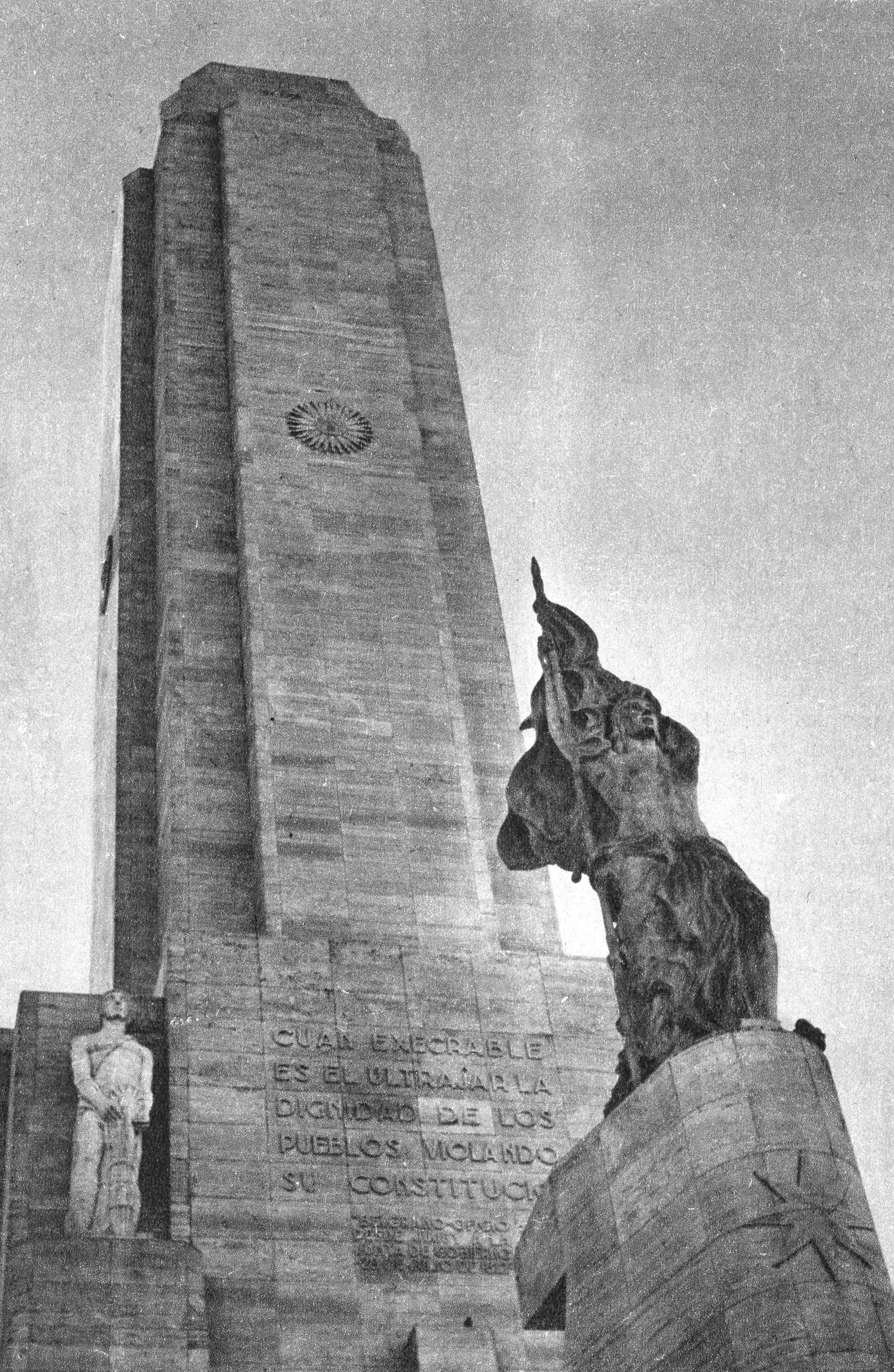 Detalle del Monumento a la Bandera en Rosario inaugurado el 20 de junio de 1957 (Archivo General de la Nación)
