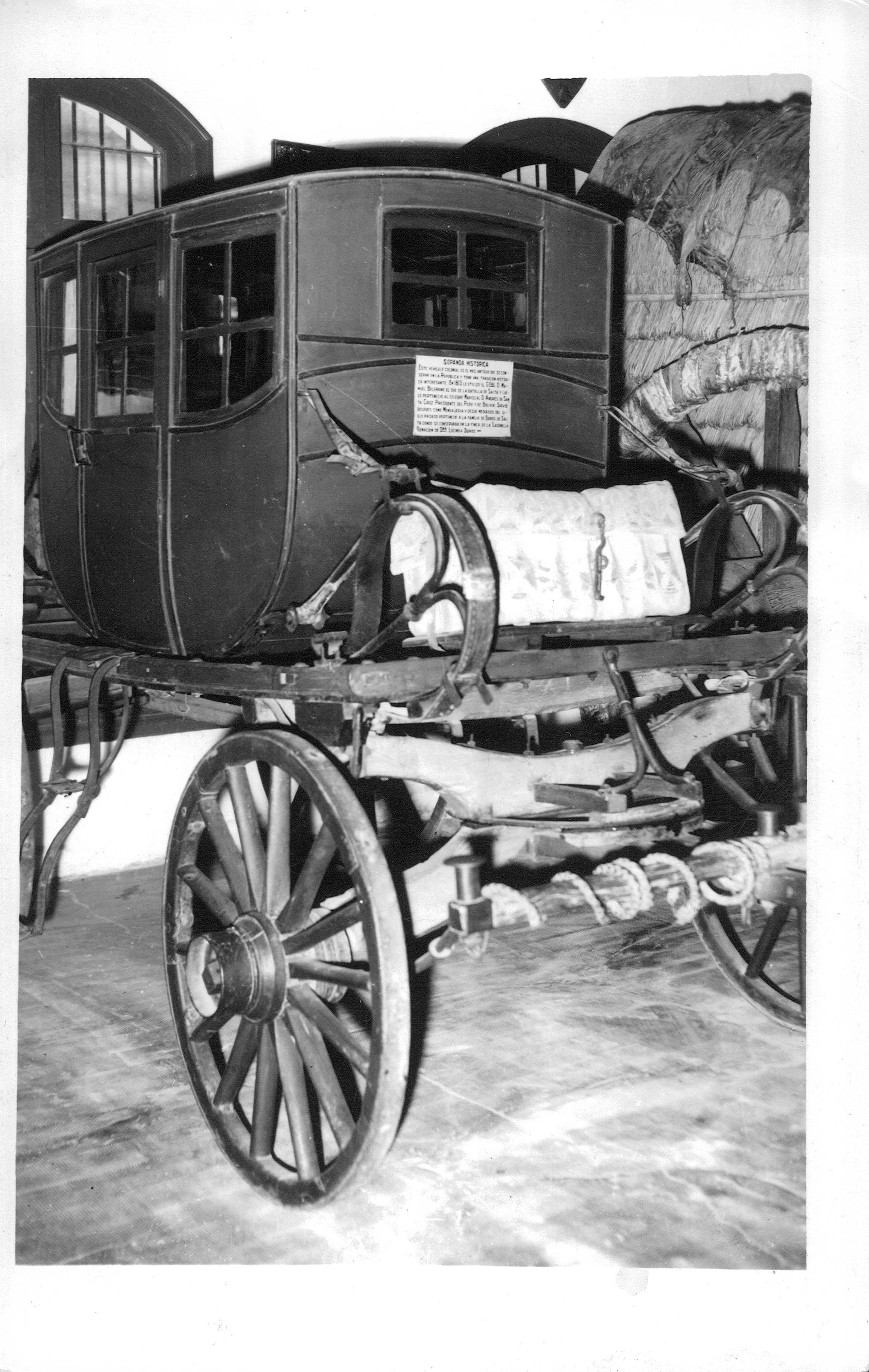 Sopanda -vehículo- del Geenral Belgrano. Lo usó durante la batalla de Salta, en 1813, porque no estaba bien de salud. Es el más antiguo conservado en el país y se encuentra en el museo Enrique Udaondo en Luján (Archivo General de la Nación)