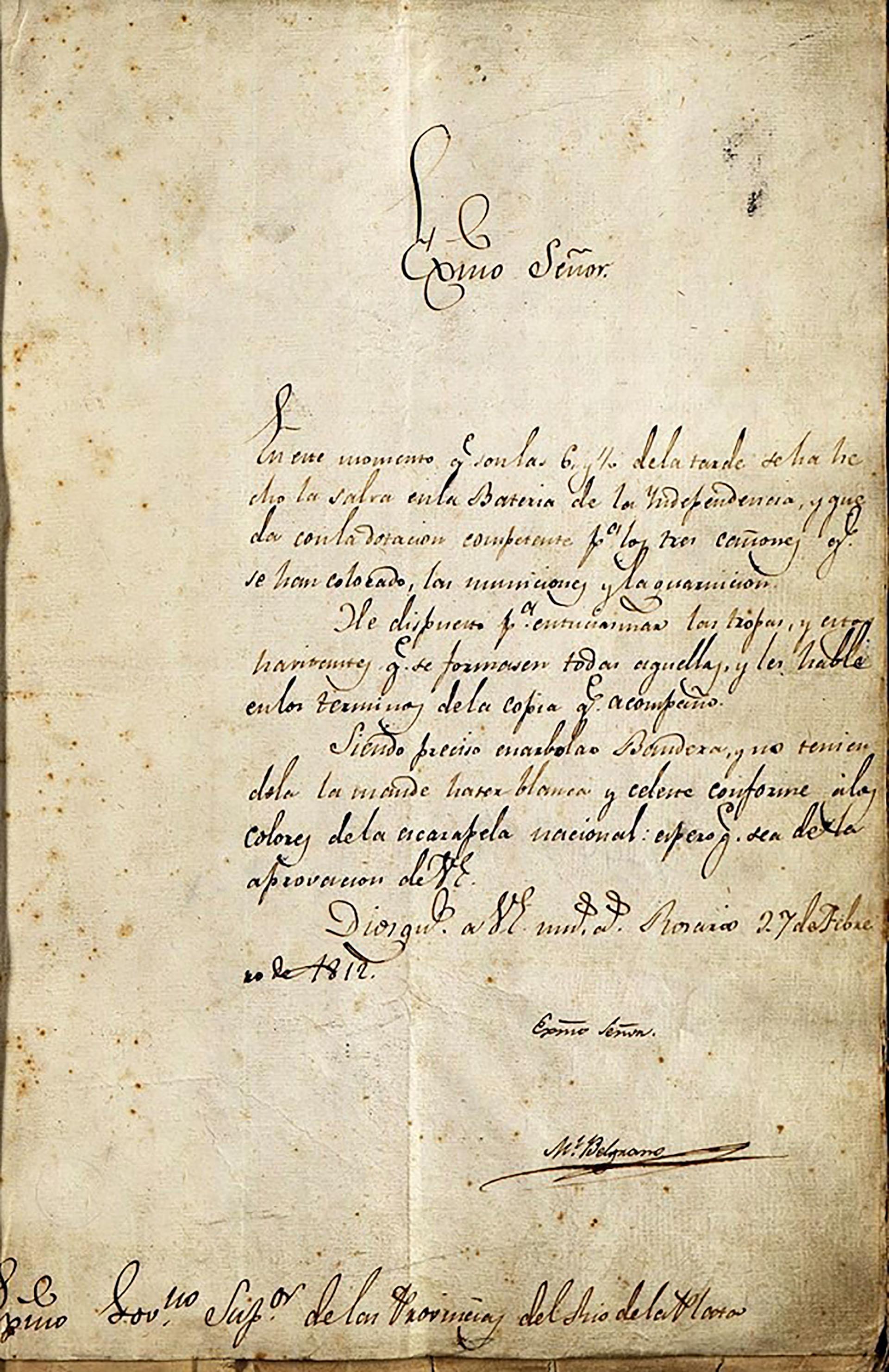 El Acta de creación de la Bandera, con la firma de Belgrano al pie, en Rosario, el 27 de febrero de 1812 (Archivo General de la Nación)