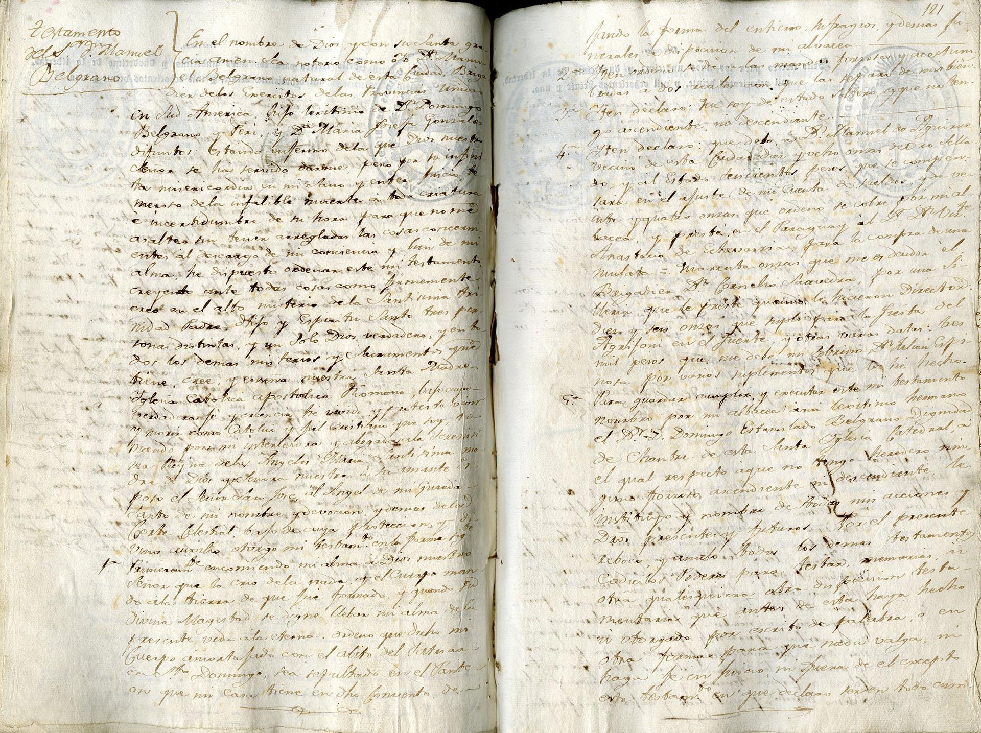 El testamento de Manuel Belgrano (Archivo General de la Nación)