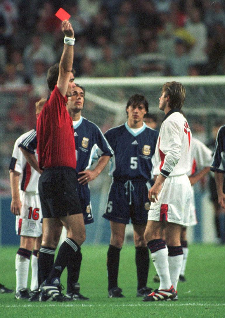 En Francia 1998, el inglés se fue expulsado y Argentina eliminó al combinado británico en los octavos de final