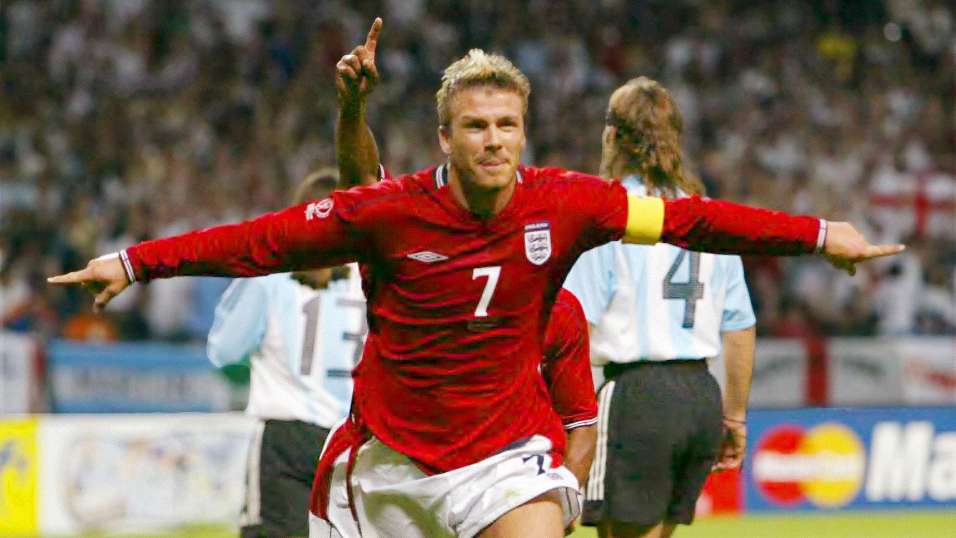 David Beckham le dio el triunfo a Inglaterra ante la Argentina en el Mundial del 2002 (Getty)