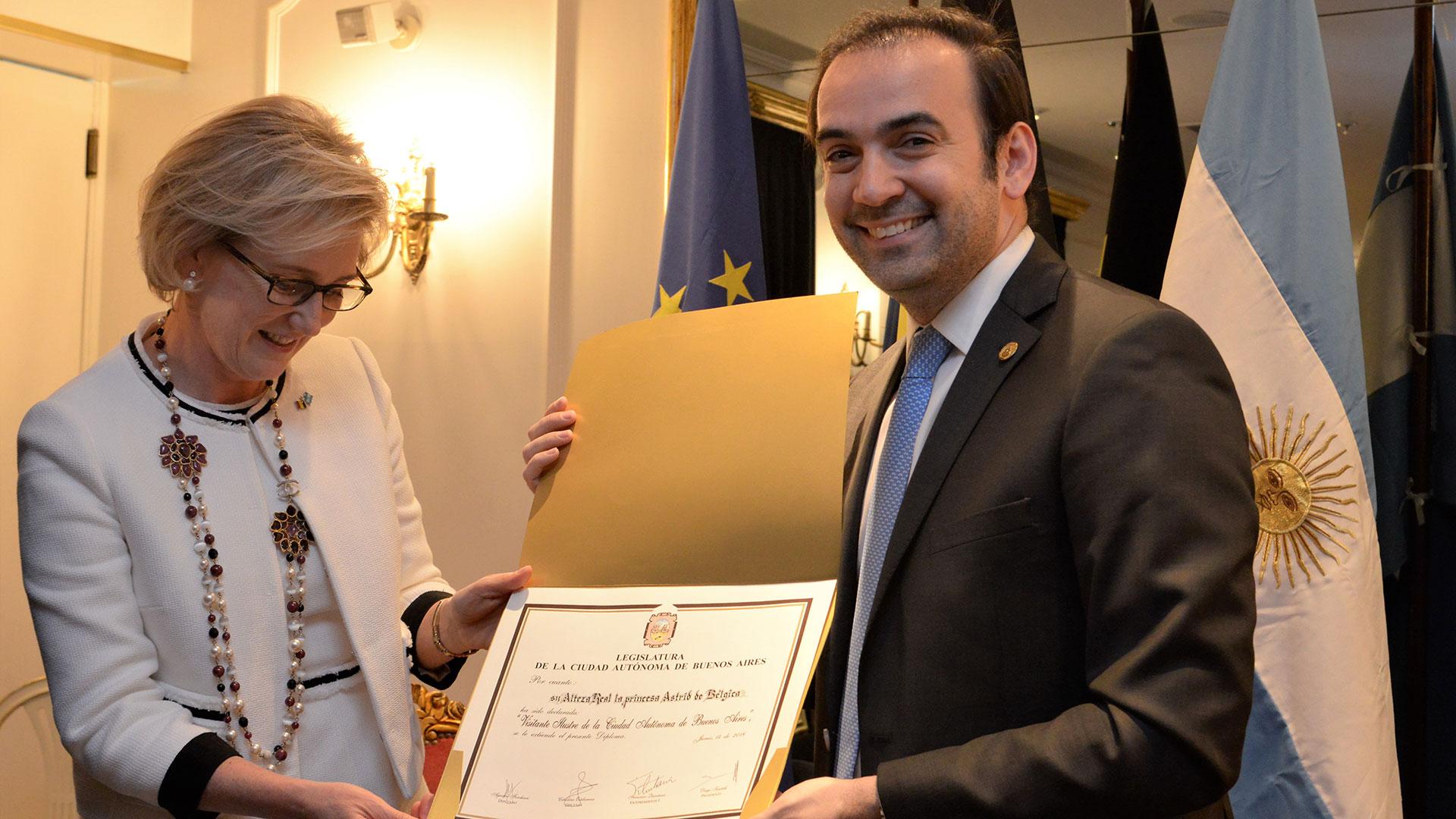 Su Alteza Real la Princesa Astrid de Bélgica recibió el diploma de Visitante Ilustre de la Ciudad de Buenos Aires, un proyecto de autoría del Vicepresidente de la Legislatura Porteña, Francisco Quintana.