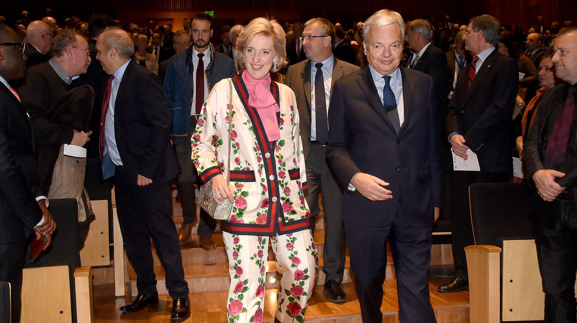 La llegada de la princesa Astrid de Bélgica al Centro Cultural Kirchner junto a Didier Reynders, viceprimer ministro Federal y ministro de Relaciones Exteriores y Asuntos Europeos