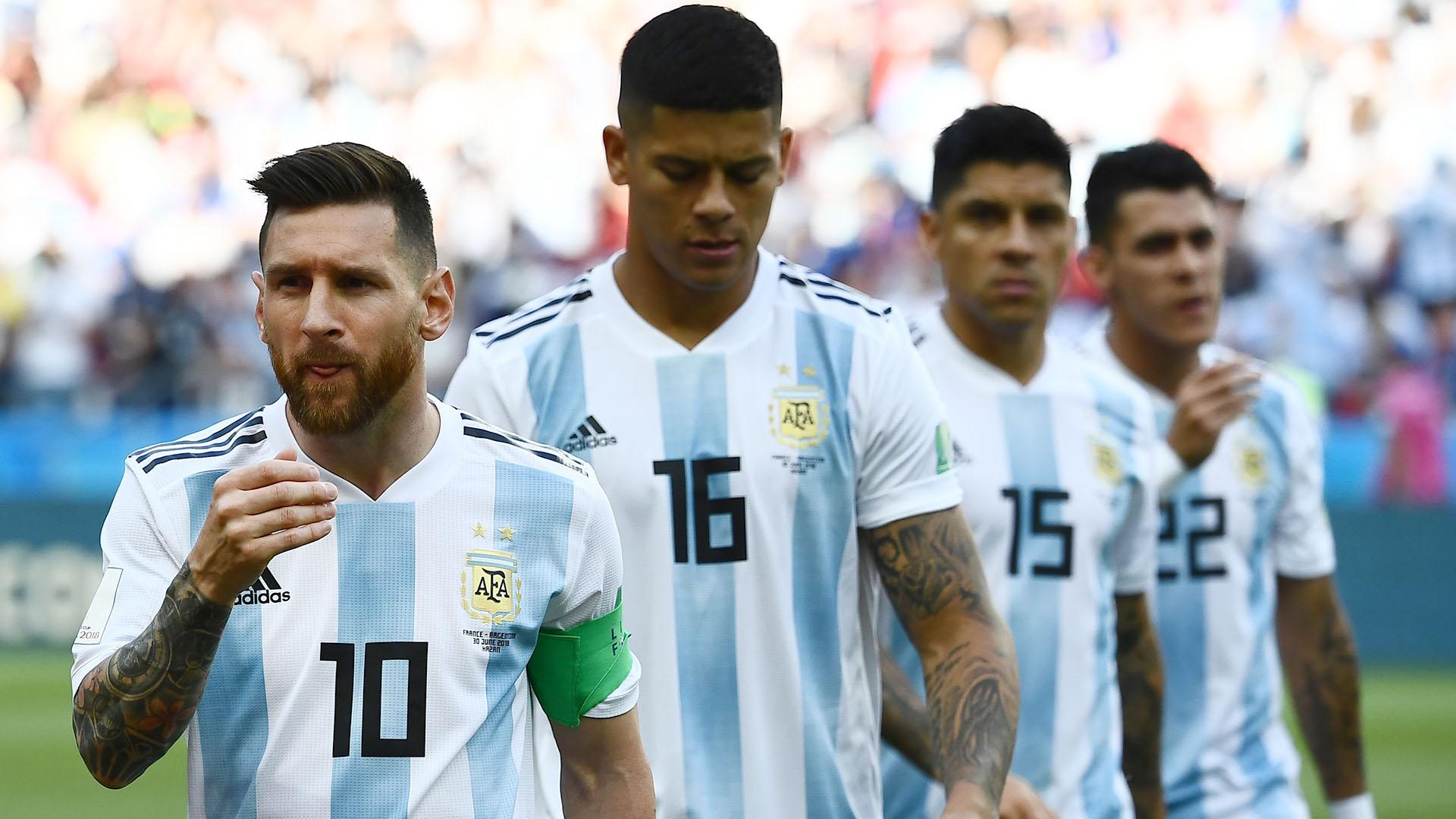 Detrás de Messi, tres jugadores que estuvieron en el Mundial y no serán parte del plantel en la Copa América: Marcos Rojo, Enzo Pérez y Cristian Pavón (AFP)