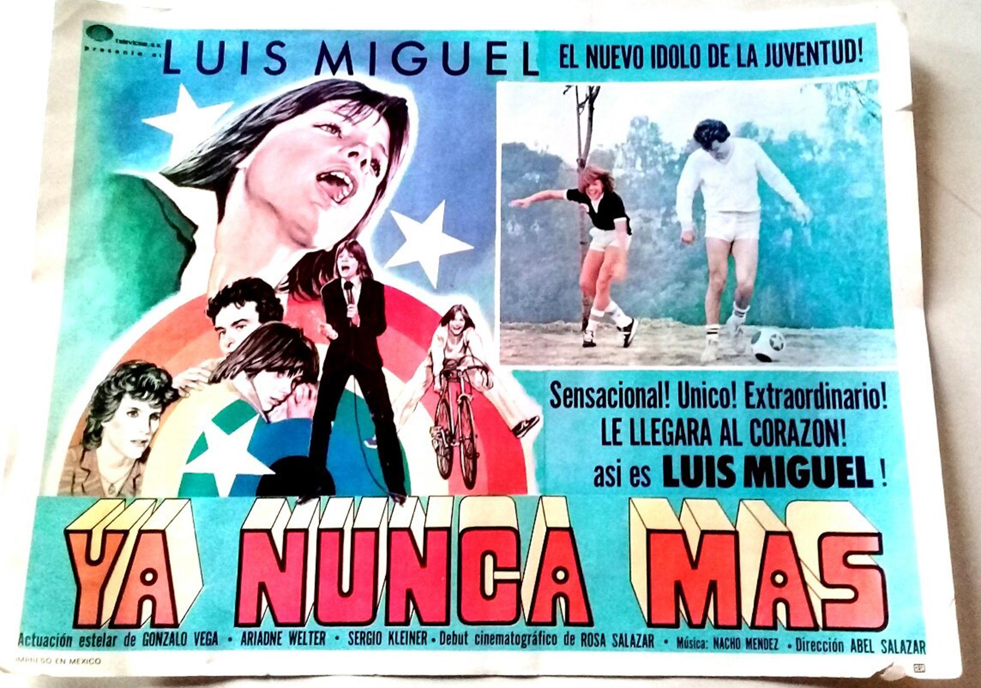 Afiche original de la primera película que protagonizó Luis Miguel, cuando tenía 13 años