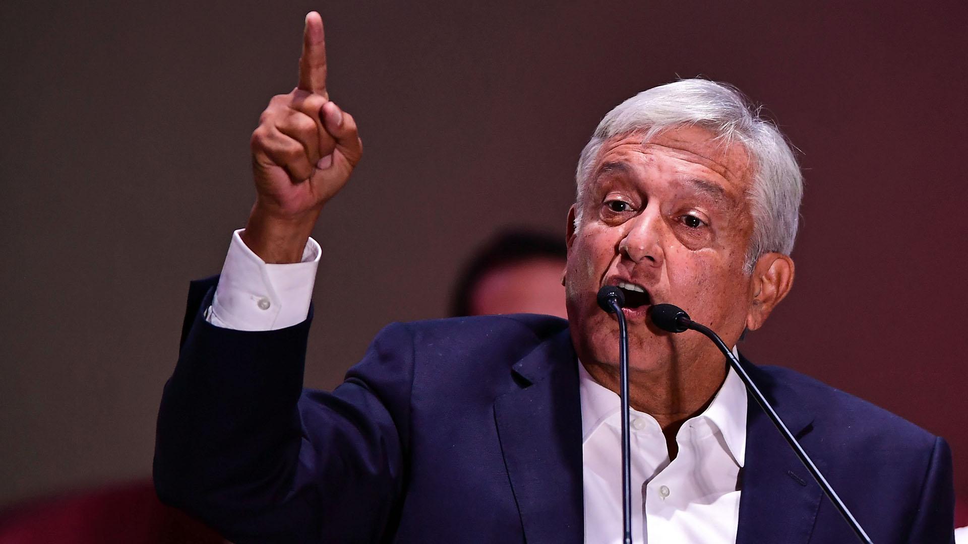 Andrés López Obrador, en su discurso luego de ganar los comicios de México (AFP)