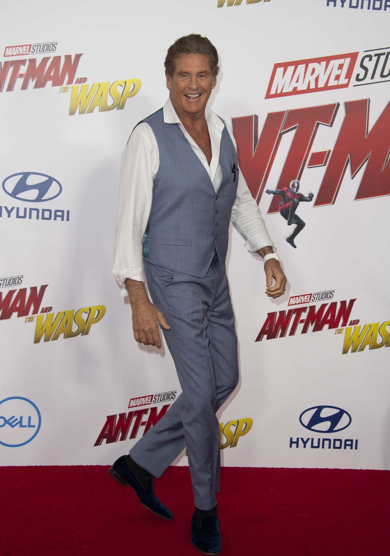David Hasselhoff, estuvo entre las celebridades invitadas a la premiere, y lució un inmejorable estado físico a sus 65 años