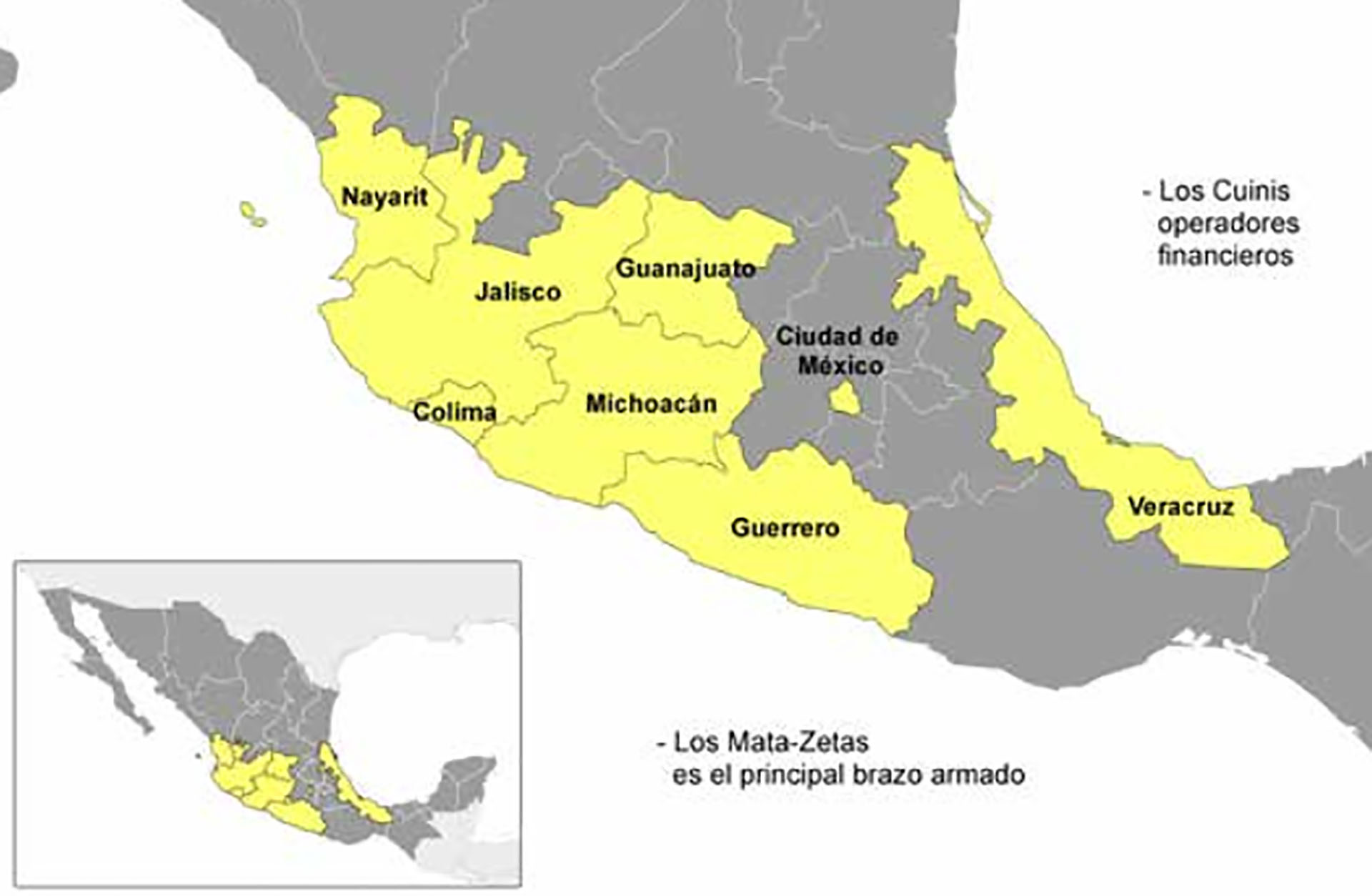 Territorio controlado por el CJNG (Mapa: Casede)
