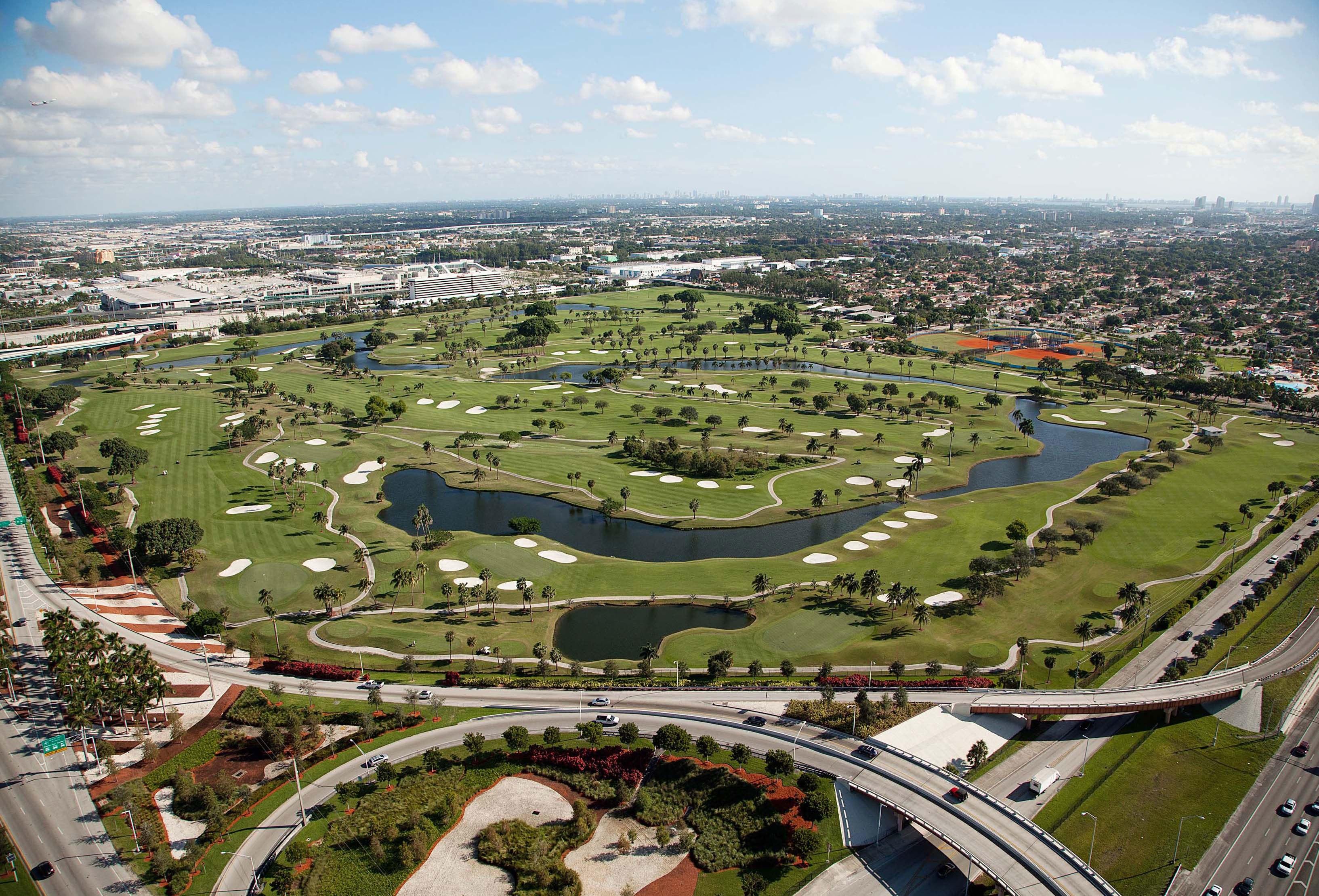 En este campo de golf de Miami, Melreese, Beckham y su grupo quieren construir no sólo el estadio para su equipo de fútbol profesional