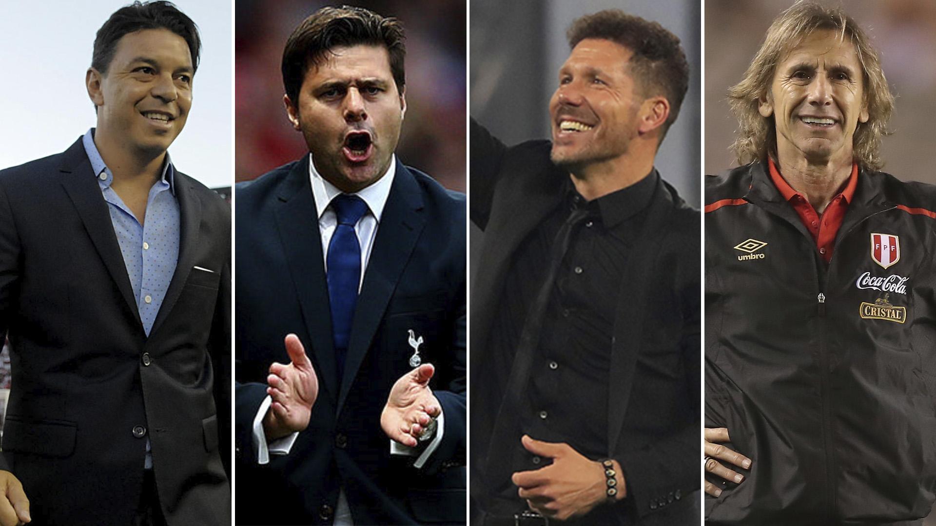 Gallardo, Pochettino, Simeone y Gareca, los apuntados para reemplazar a Sampaoli en la selección argentina