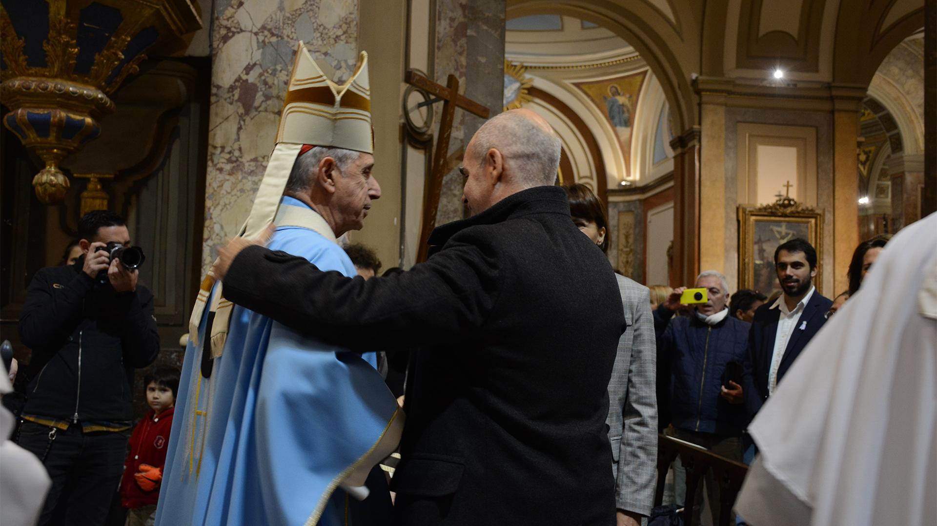 Horacio Rodríguez Larreta junto al arzobispo de Buenos Aires, Mario Poli