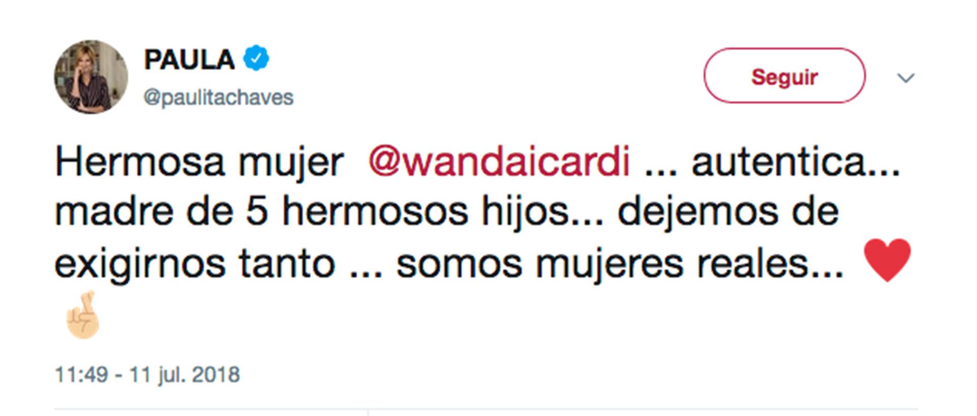 Paula Chaves apoyó a Wanda desde Twitter.