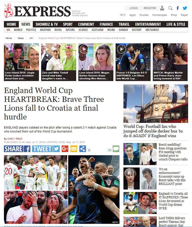 Los tres leones valientes que cayeron cayeron ante Croacia en el obstáculo final (Daily Express)