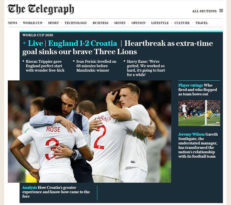 Un gol en el tiempo extra ahogó a nuestros valientes tres leones (The Telegraph)