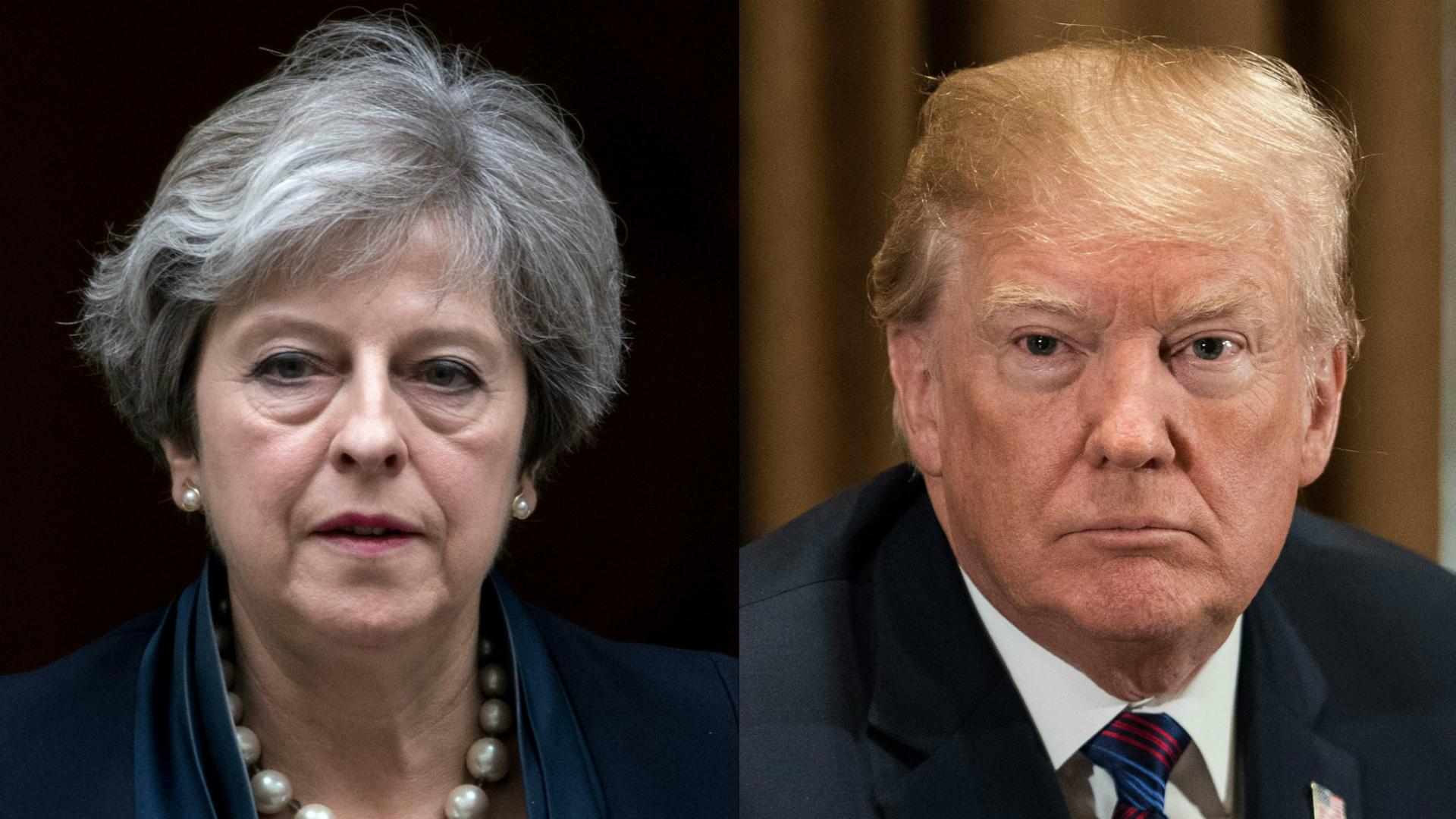 La primera ministra británica Theresa May y el presidente de Estados Unidos, Donald Trump