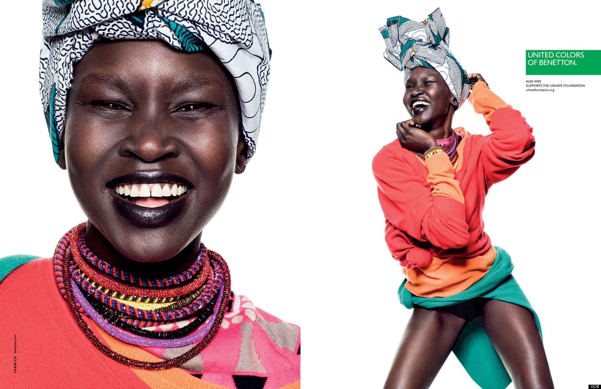 2013. La modelo Alek Wek, fotografiada por Giulio Rustichelli, participó de la campaña a puro color para la temporada de Benetton del 2013. Colores estridentes que resaltaban el color de su piel y un original turbante, intentaban vender la ropa de la nueva colección