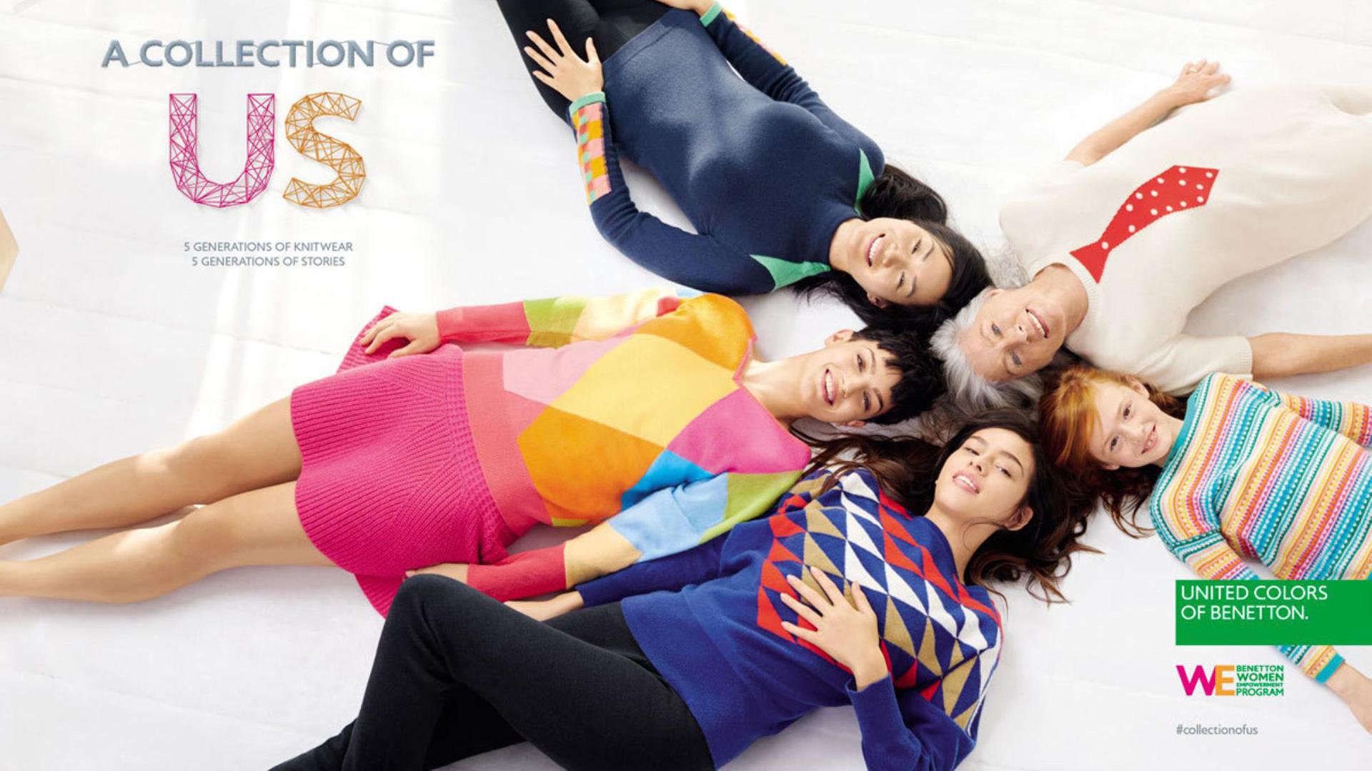 """2015. """"A collection for US"""". Cinco generaciones de tejidos y cinco generaciones de historia. Así es la campaña de Benetton. Desde niños hasta abuelos, toda la familia se puede vestir en Benetton. Todos los talles, todos los modelos y todos los colores. Una de las marcas internacionales que promueve la inclusión desde los años 80"""