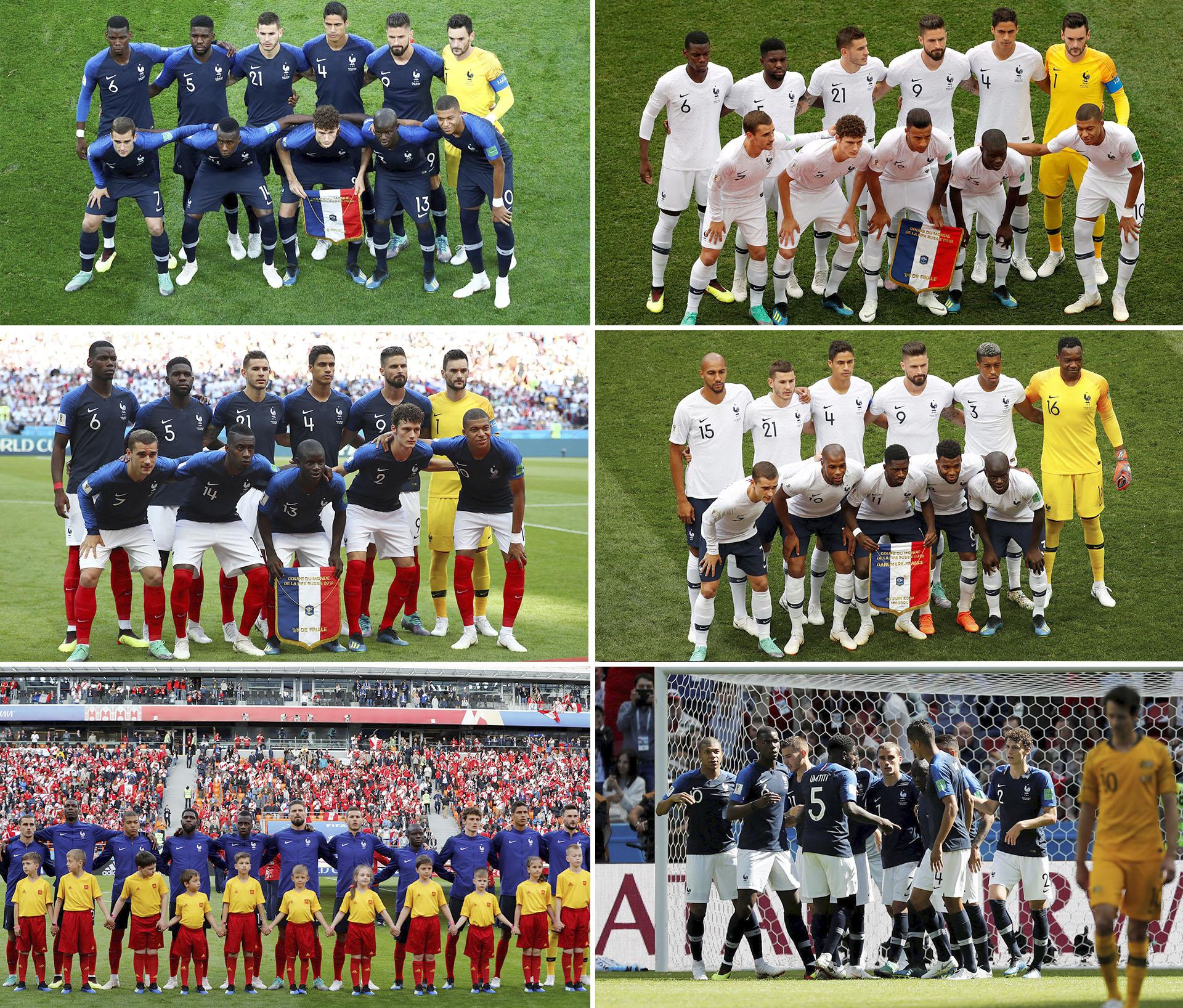 El lookde Francia: azul contra Bélgica, blanco ante Uruguay, tricolor en octavos frente a Argentina, blanco con pantalón azul ante Dinamarca, azul y medias rojas contra Perú y azul con pantalón blanco en el debut contra Australia