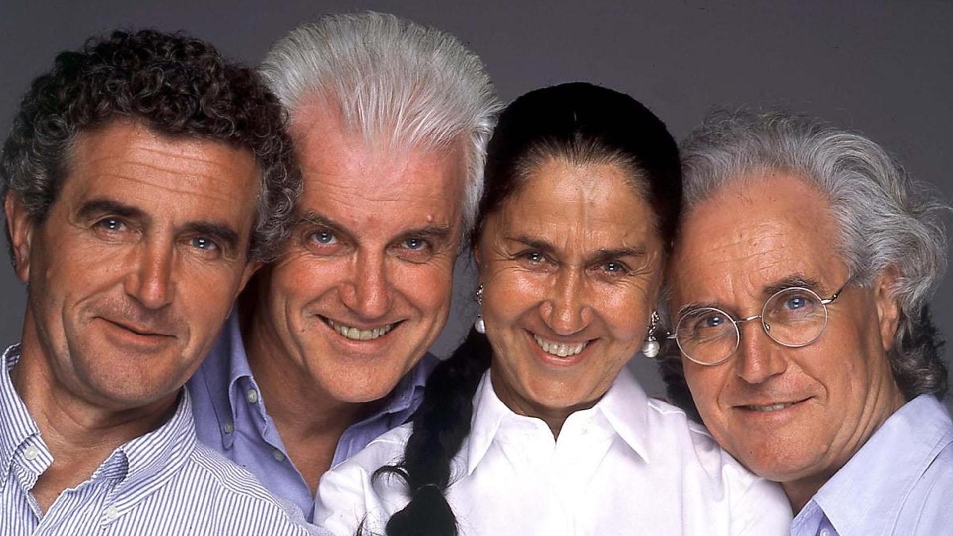 Carlo Benetton, uno de los cuatro hermanos fundadores de Benetton falleció el 10 de julio a los 74 años. A su lado sus hermanos Gilberto, Giuliana y Luciano (Gentileza: Benetton Group)