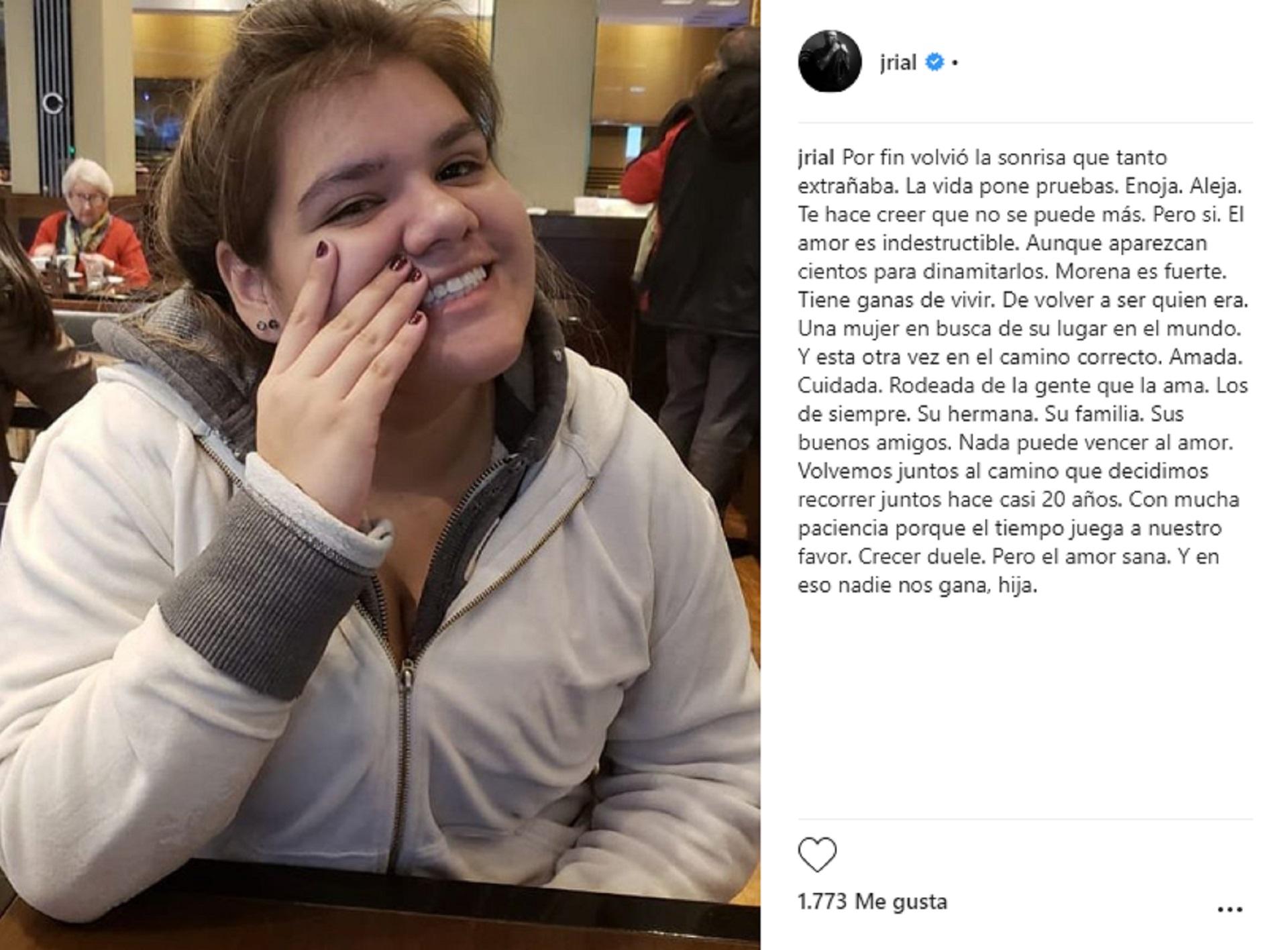 """Jorge Rial y su hija Morena se reconciliaron. """"Por fin volvió la sonrisa que tanto extrañaba. La vida pone pruebas. Enoja. Aleja. Te hace creer que no se puede más. Pero sí"""", dijo el conductor"""