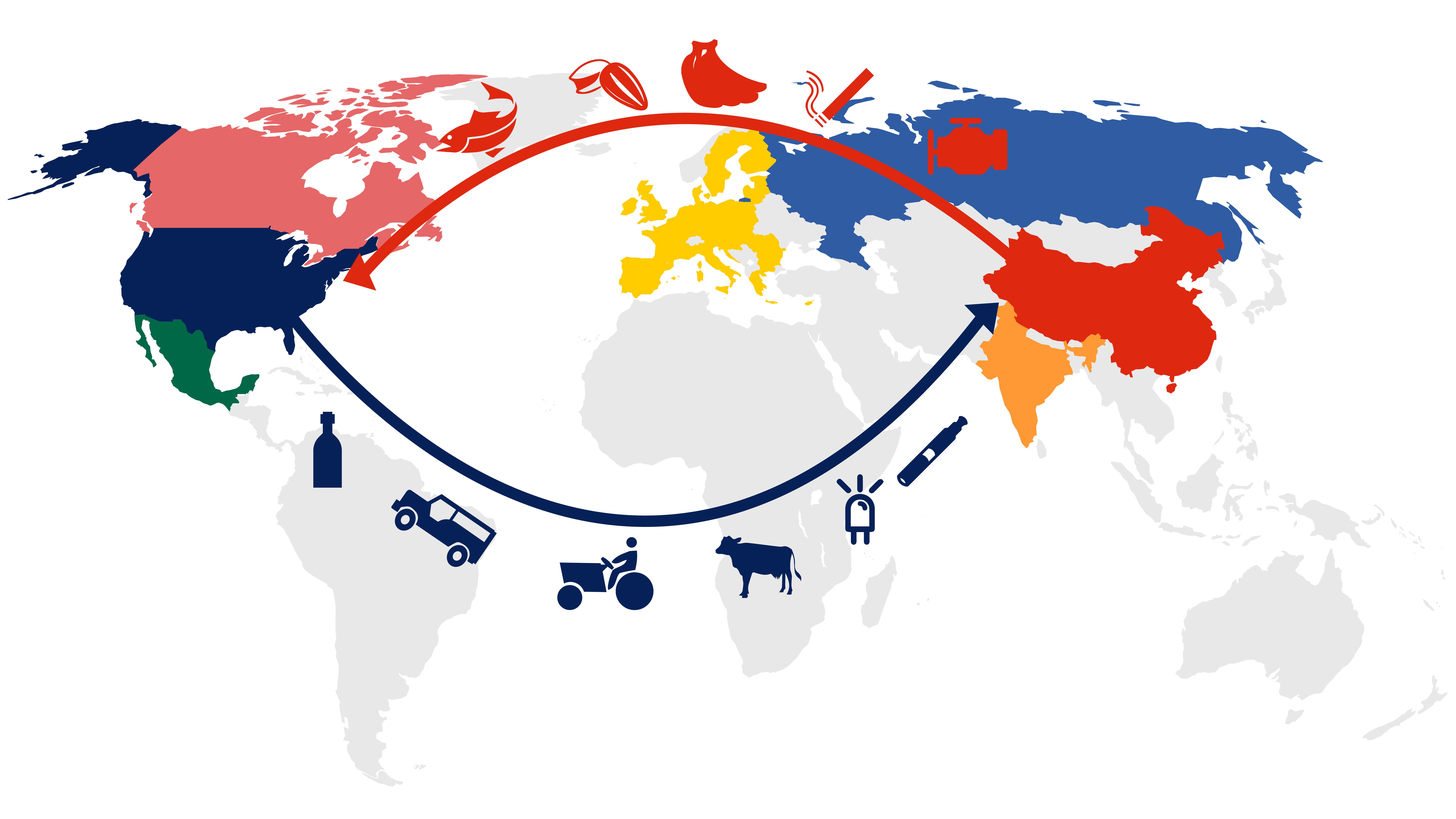 En 2018, EEUU exportó bienes por 120.000 millones de dólares las China. El gigante asiático exportó en cambio 540.000 millones a la primera economía global (Infografía de Tomás Orihuela)
