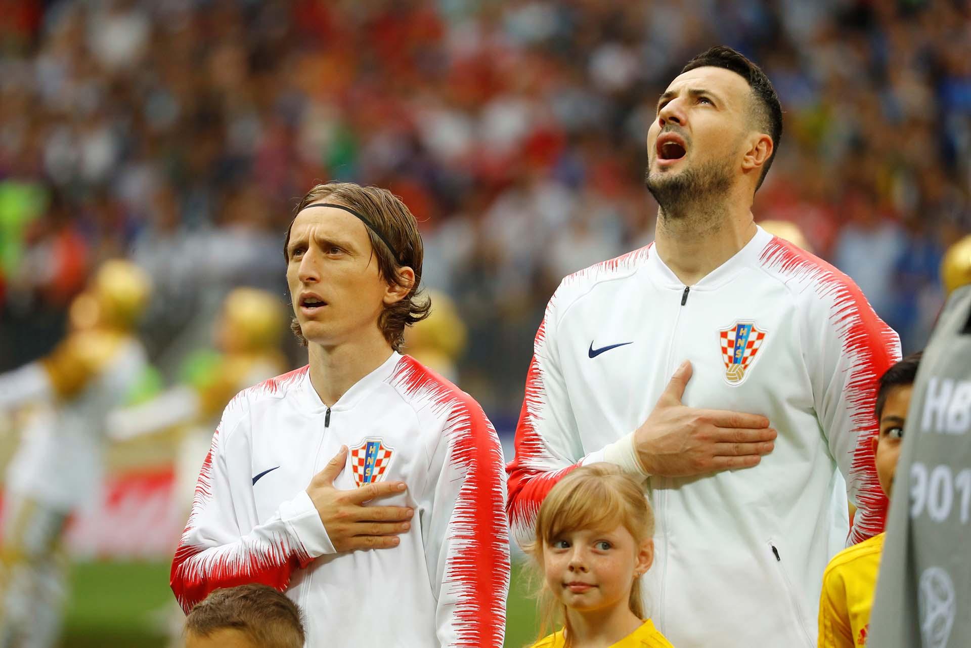 El momento del himno de Croacia