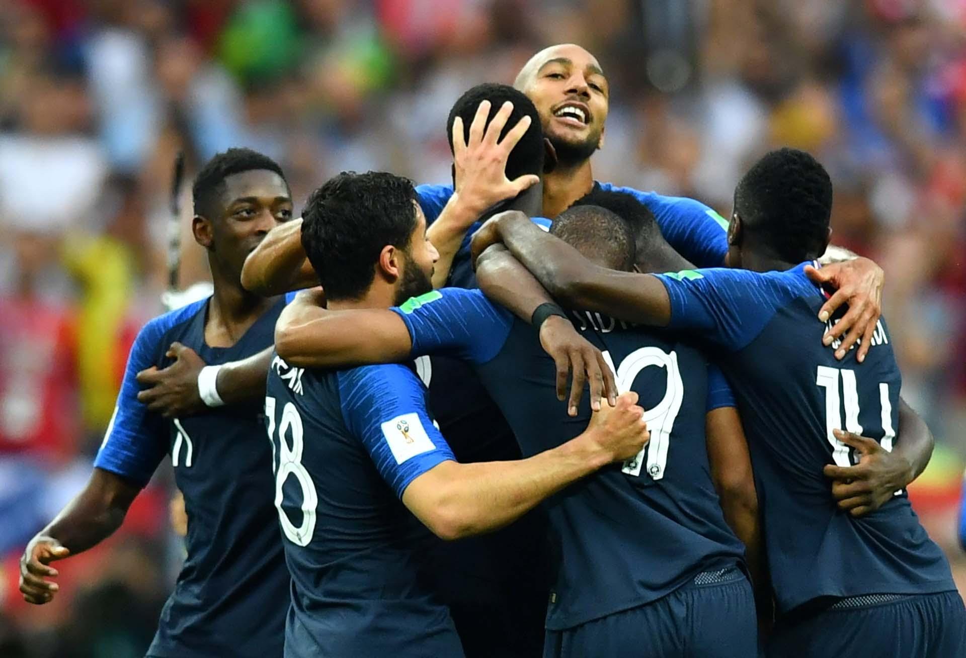 El festejo tras el cuarto gol de Francia