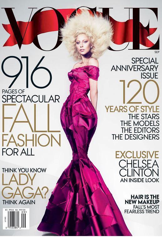 Lady Gaga, también invitada de honor para ser la cara del September Issue de 2012 Una producción visual de Mert Alas y Marcus Piggot