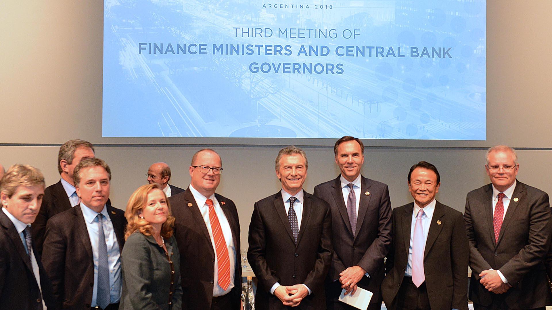 El presidente argentino Mauricio Macri durante la cumbre de ministros de finanzas y directores de bancos centrales realizada en julio