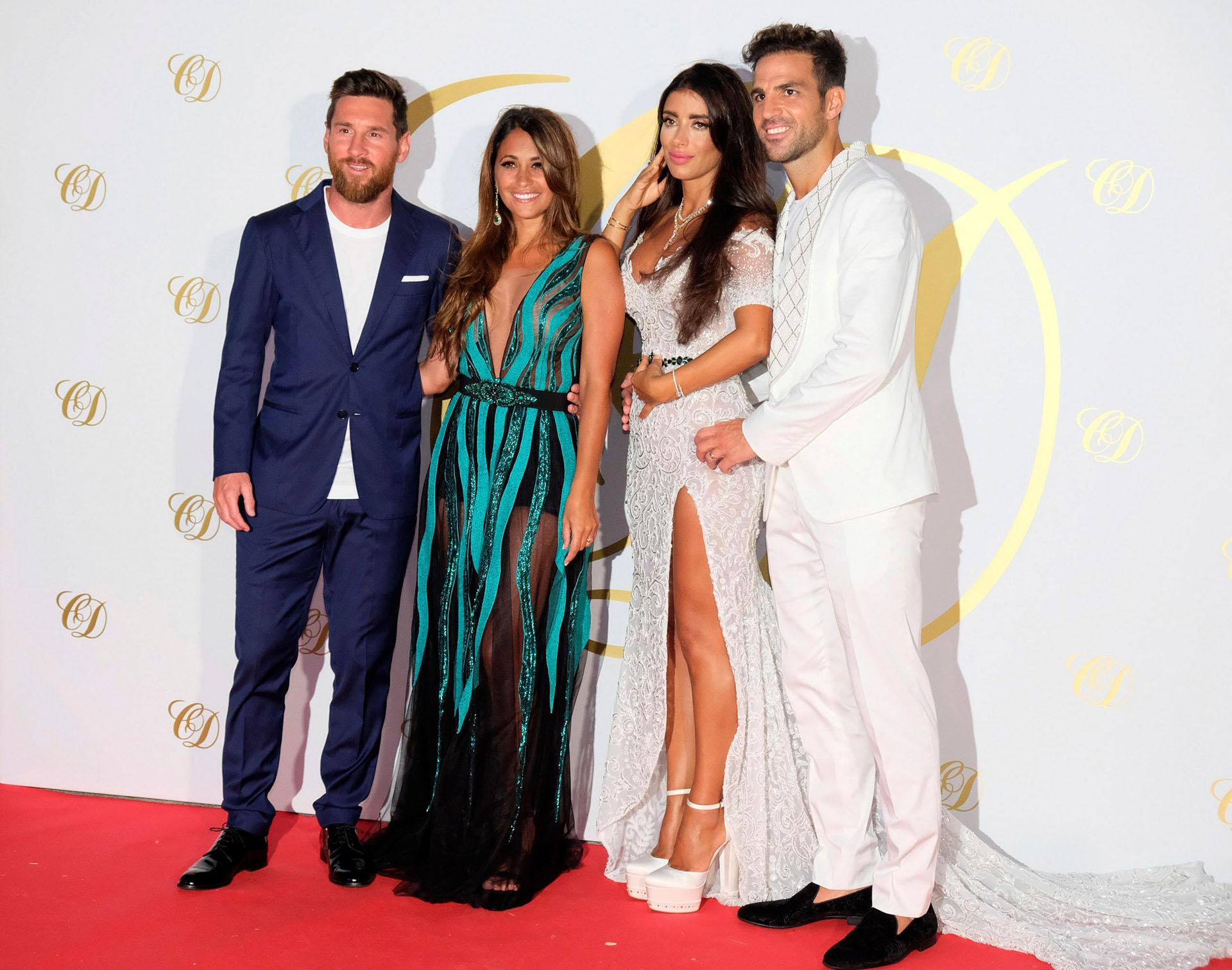 Lionel Messi y Antonela Roccuzzo con los recién casados, Cesc y Daniella