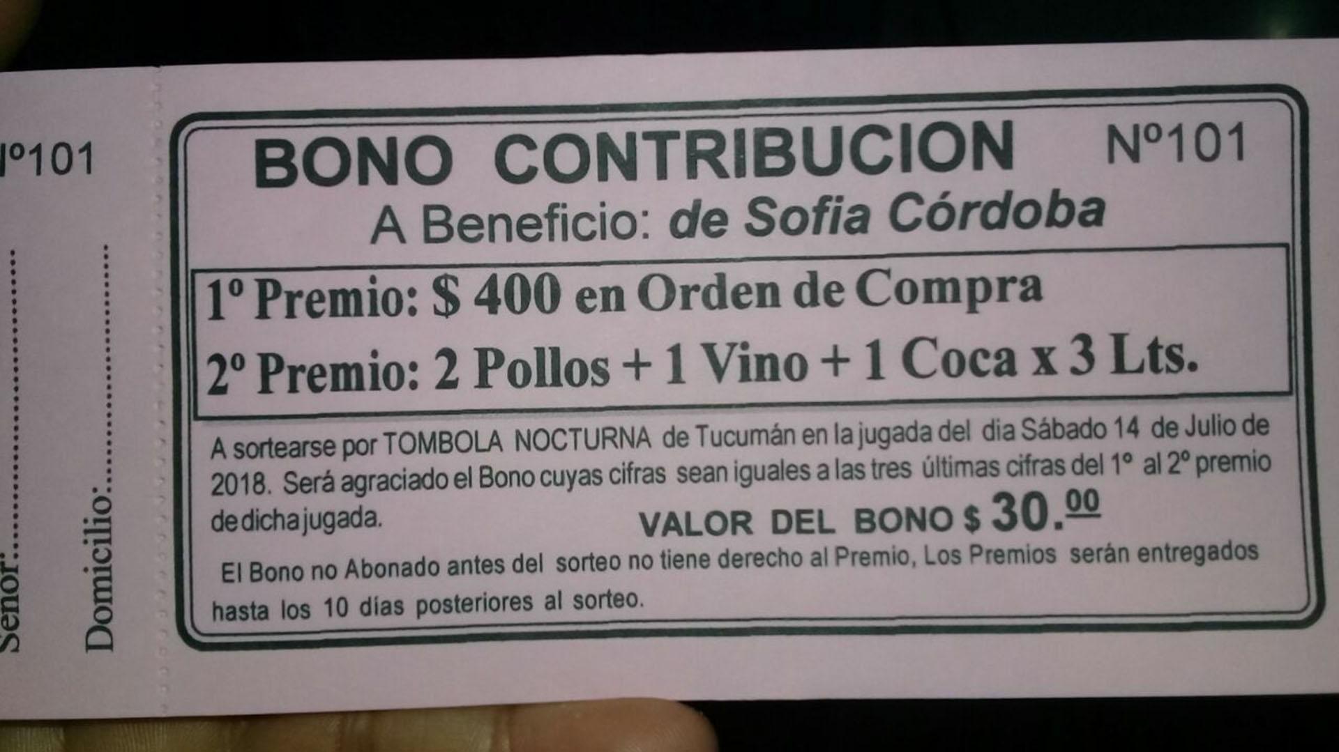 Uno de los bonos contribución confeccionados por Verónica Carrasco para poder hacer frente al tratamiento de su hija
