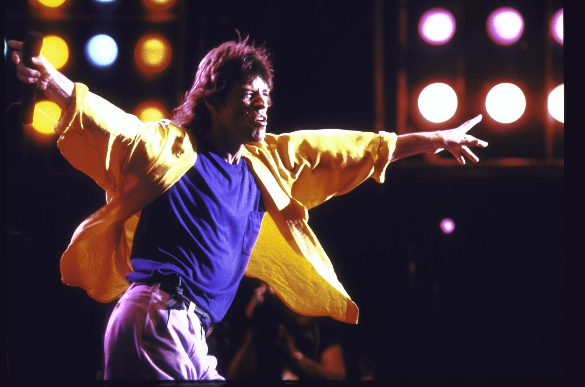 Mick Jagger en el concierto deLive Aid,el 13 de julio de 1985
