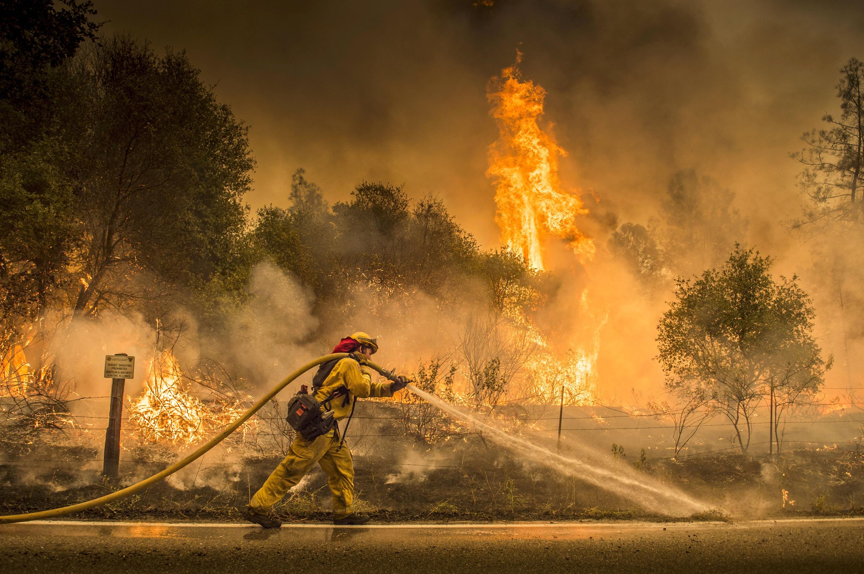 Un bombero cerca de la ciudad de Igo (Hector Amezcua/ The Sacramento Bee, vía AP)