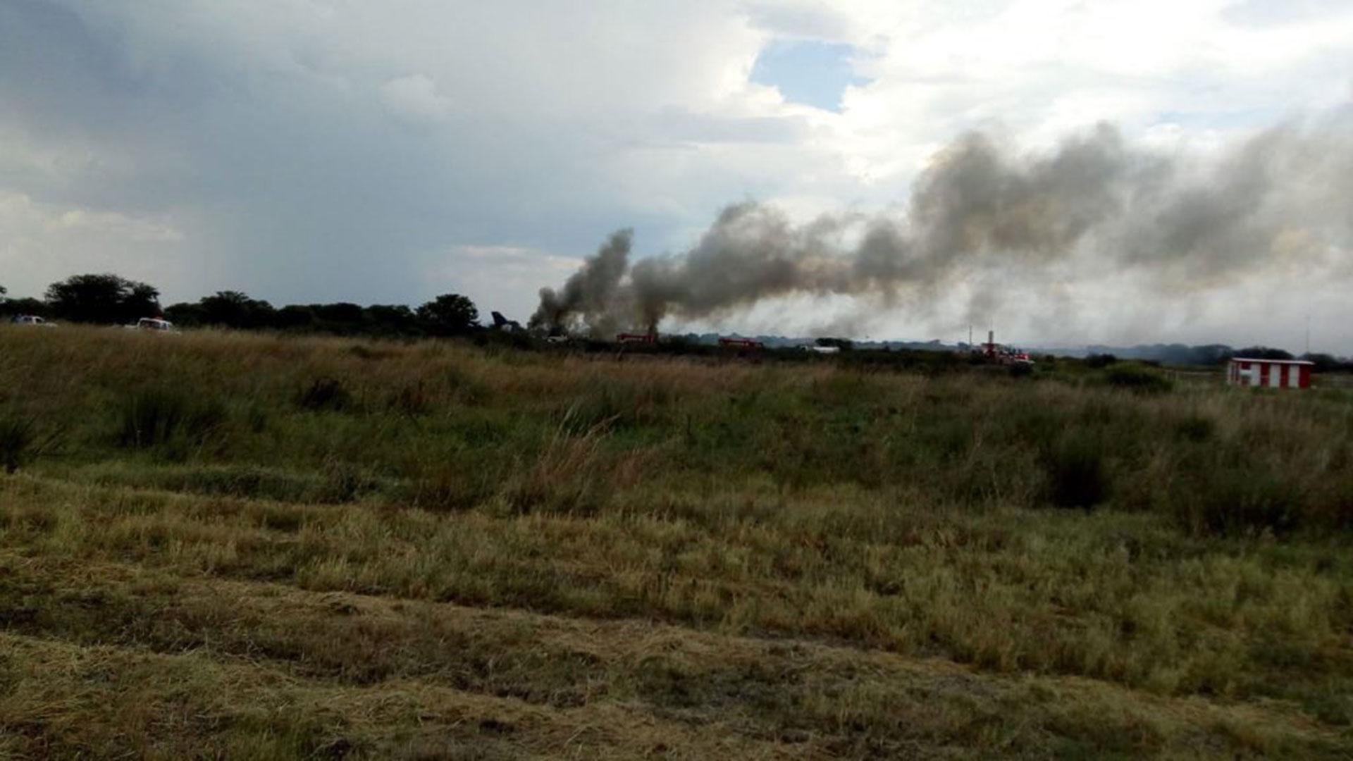 La columna de humo que se observaba minutos después del accidente