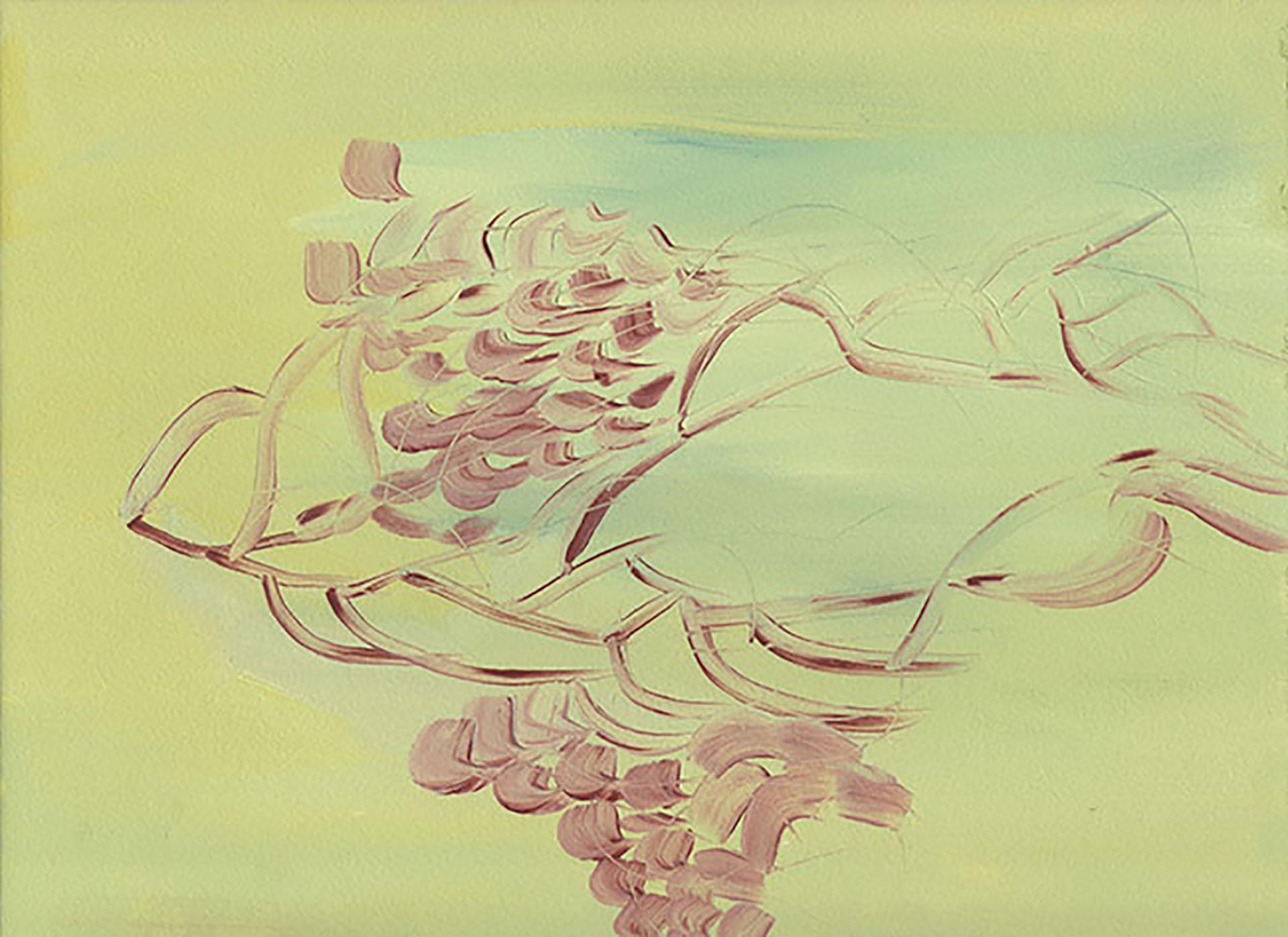 Leticia Obeid. Sin título. Serie piedra, tijera, papel. 2018. Óleo sobre papel. 23 x 31 cm
