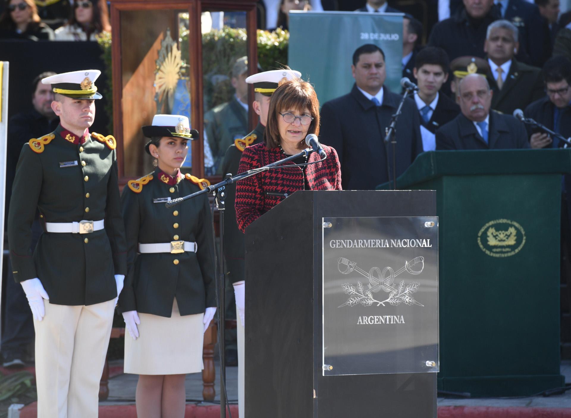 La ministra Patricia Bullrich una de los oradoreseste mediodía en Ciudad Evita