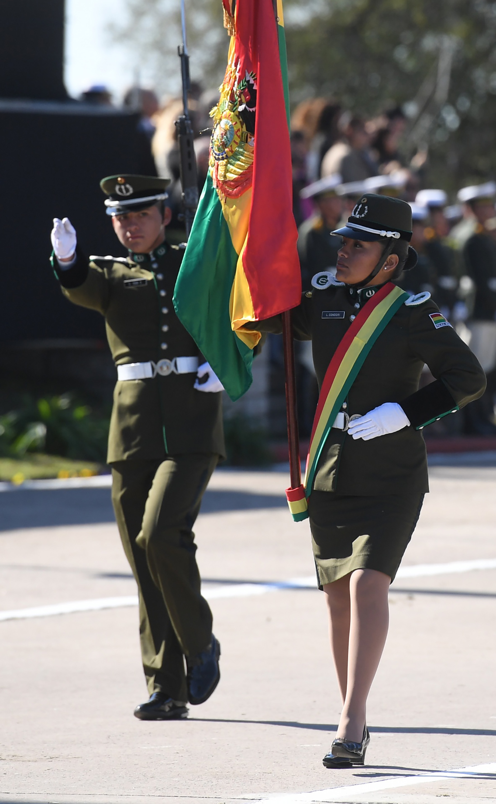 Durante la ceremonia, se rindió honor a las banderas de Bolivia, República de Chile, Guatemala, Perú, Panamá y Paraguay, estados nacionales que mantienen acuerdos de capacitación con la fuerza argentina