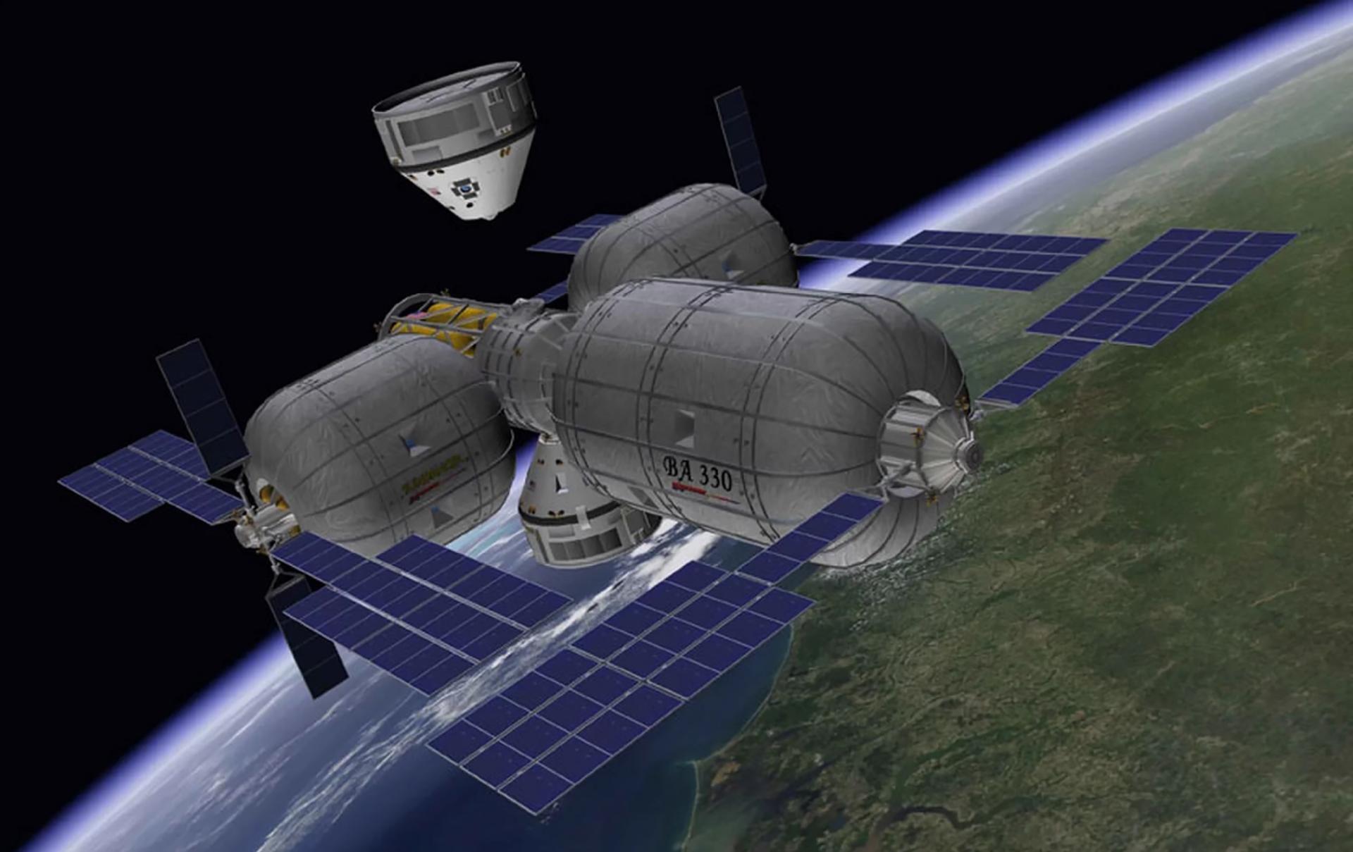 La ilustración de este artista representa una nave espacial CST-100 de Boeing que se acerca a un complejo de estación espacial inflable privada diseñada para vivir en el espacio