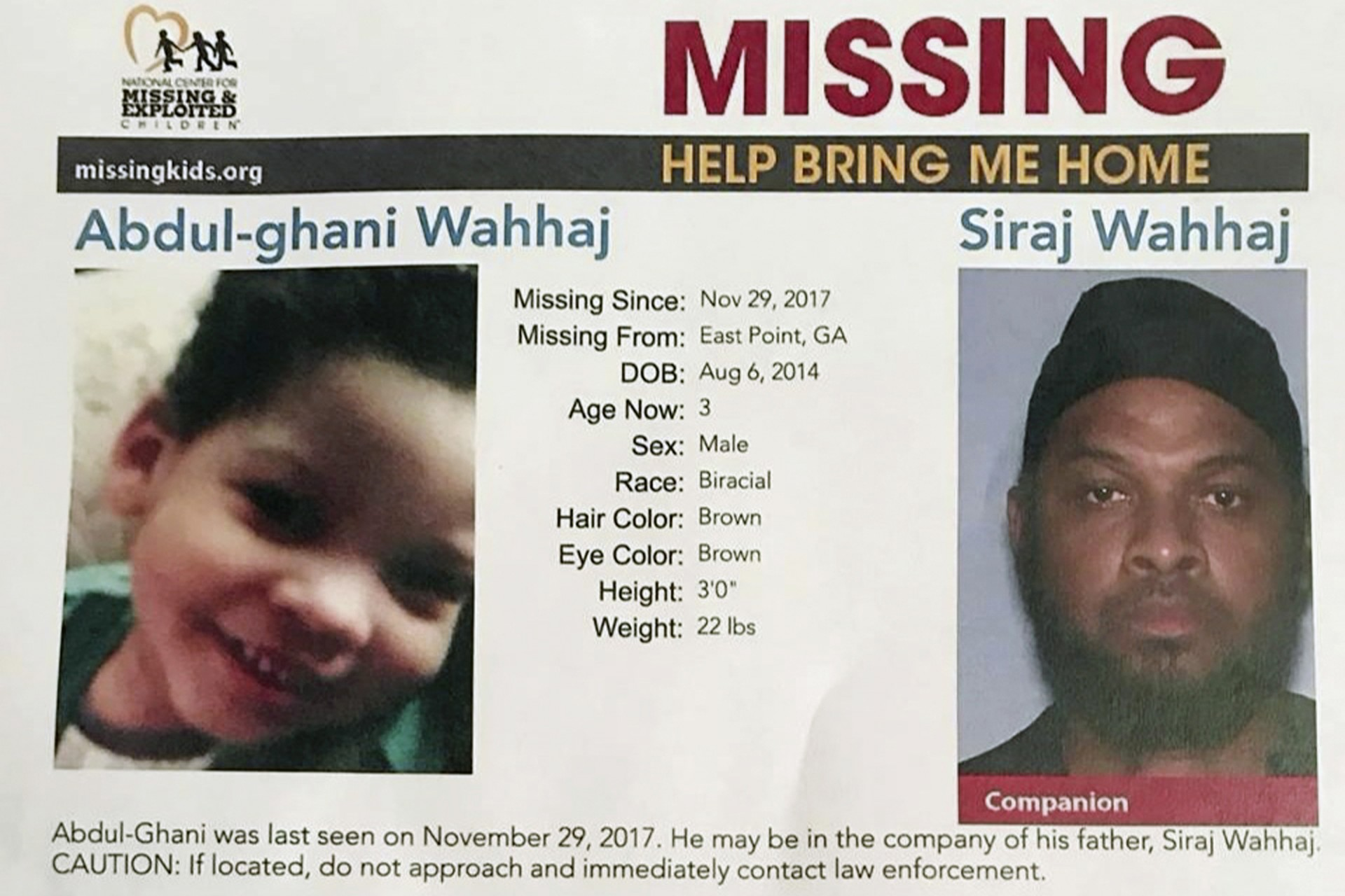 El afiche con el que se buscaba al niño secuestrado