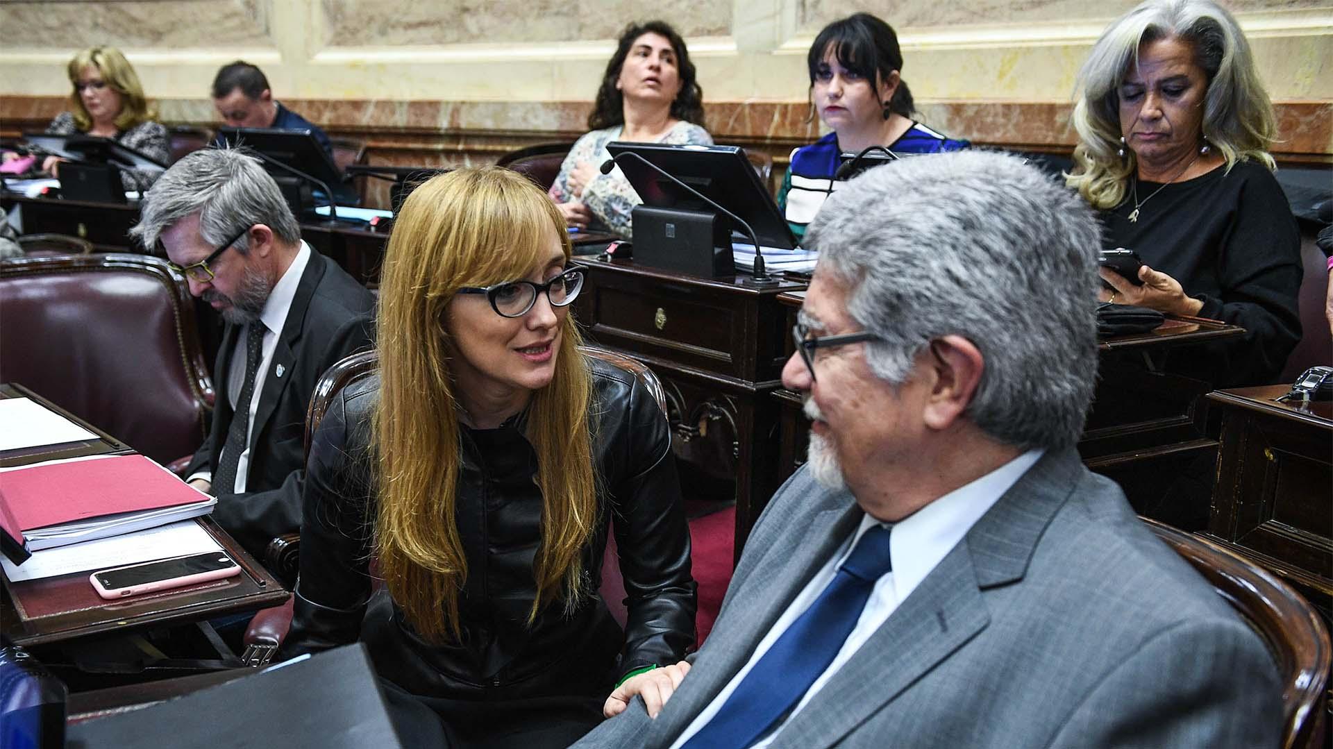 Los senadores de Unidad Ciudadana Anabel Fernández Sagasti y Marcelo Fuentes