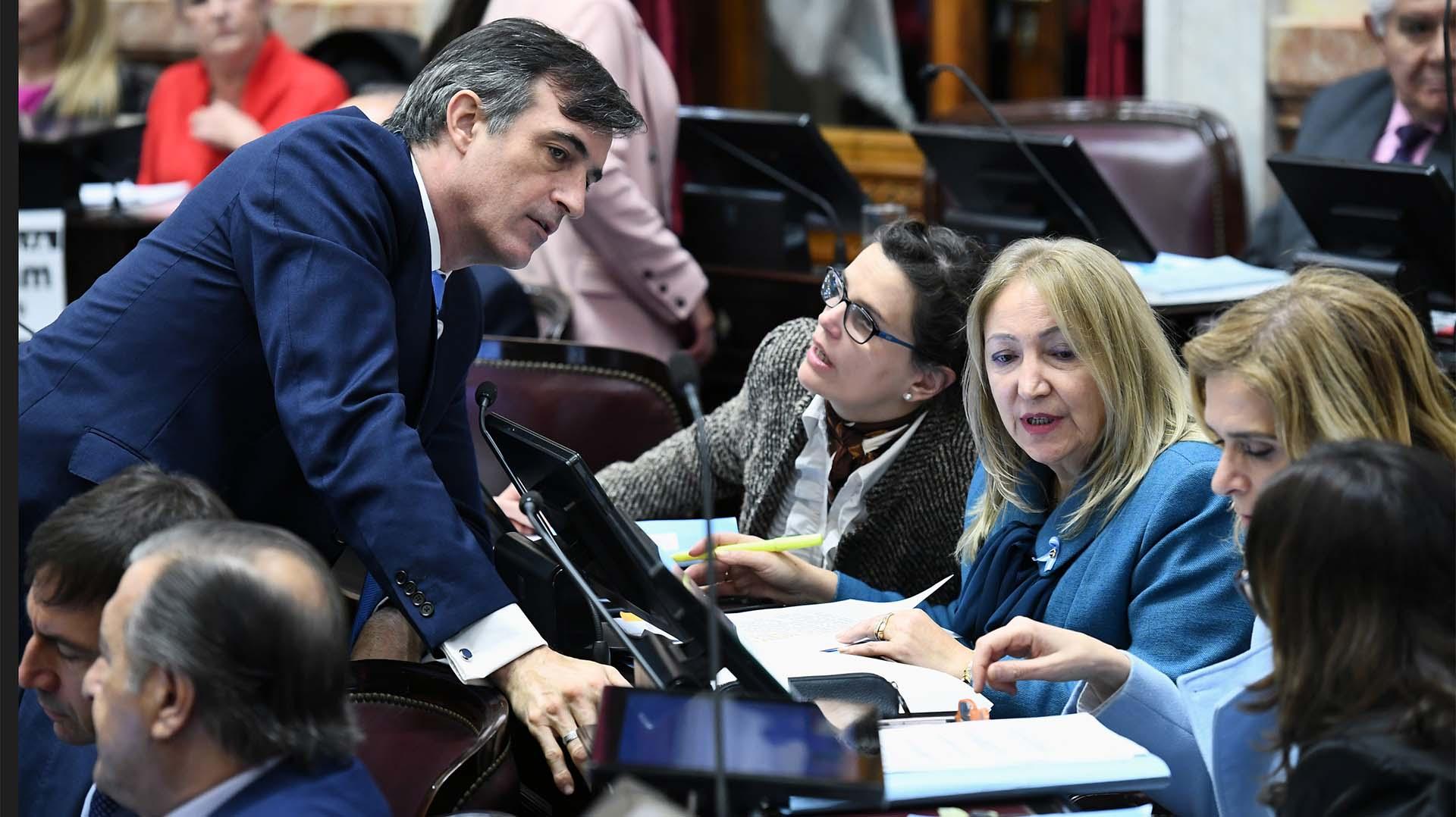 Los senadores de Cambiemos durante la sesión en la que se debate el proyecto de aborto legal
