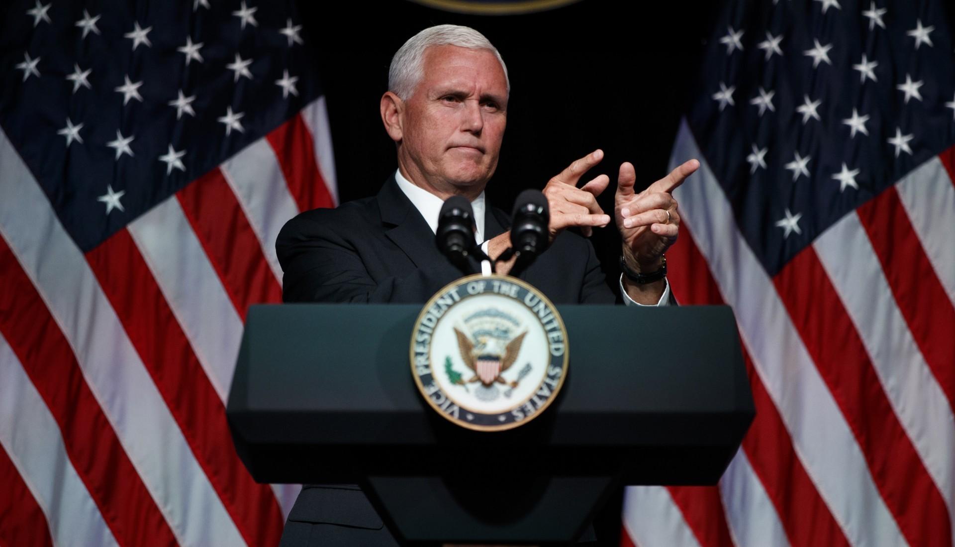 Mike Pence, en la conferencia de presentación en el Pentágono (AP)