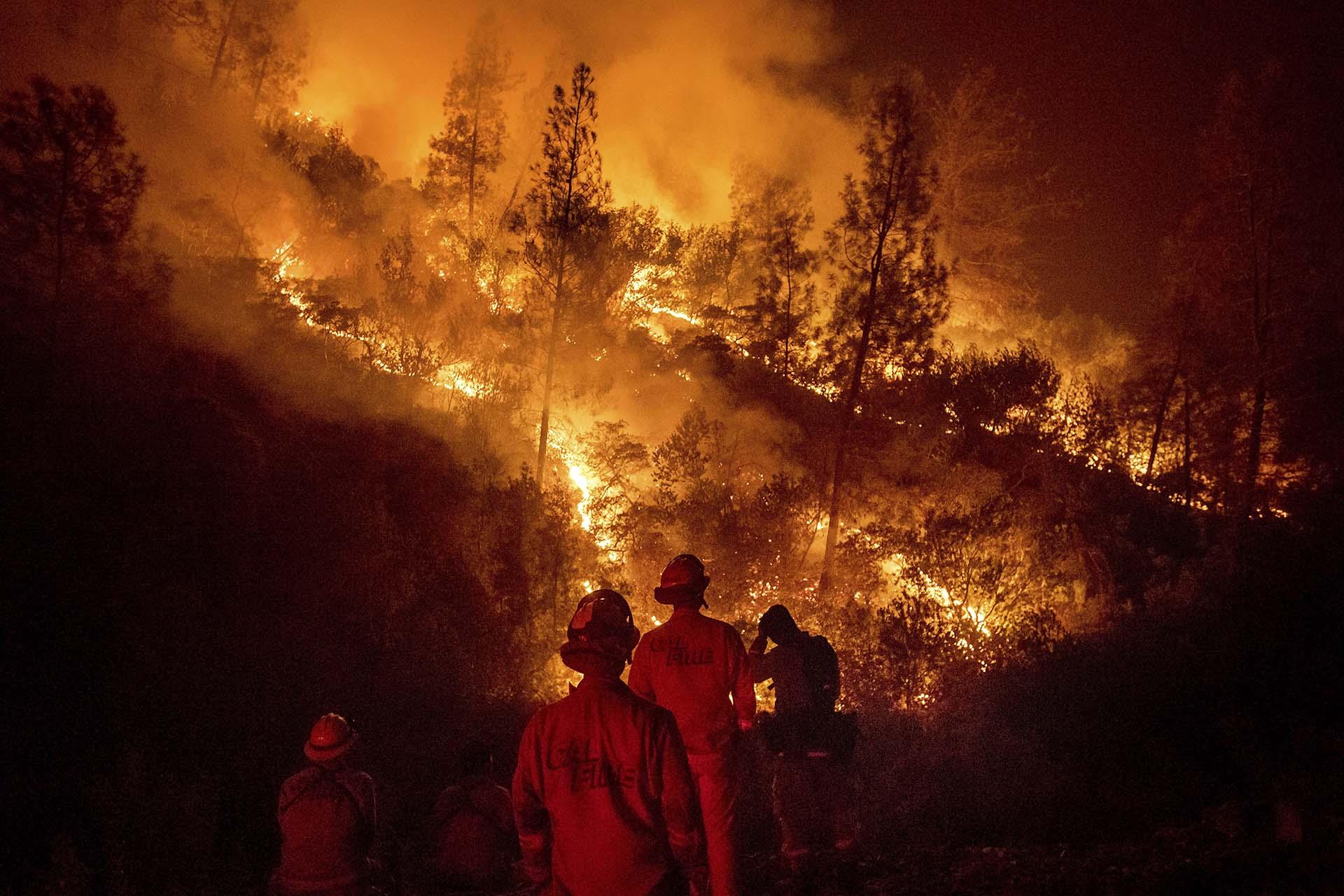 """El incendio """"Mendocino Complex"""", que toma su nombre del condado californiano de Mendocino, está compuesto por dos focos (""""Ranch"""" y """"River"""") que arden desde el pasado 27 de julio en torno al lago Clear Lake, situado a unos 200 kilómetros al norte de San Francisco (EEUU)"""
