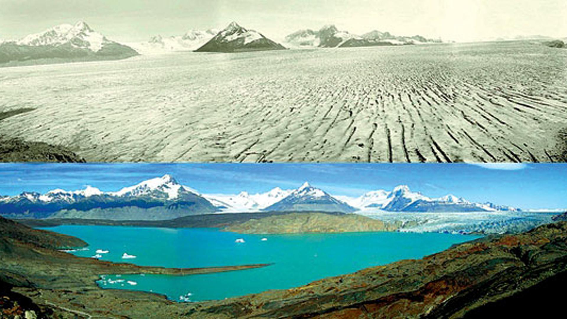 El glaciar Upsala, en la Patagonia Argentina, en una foto del año 1928 y 2004, con el evidente retroceso de sus hielos